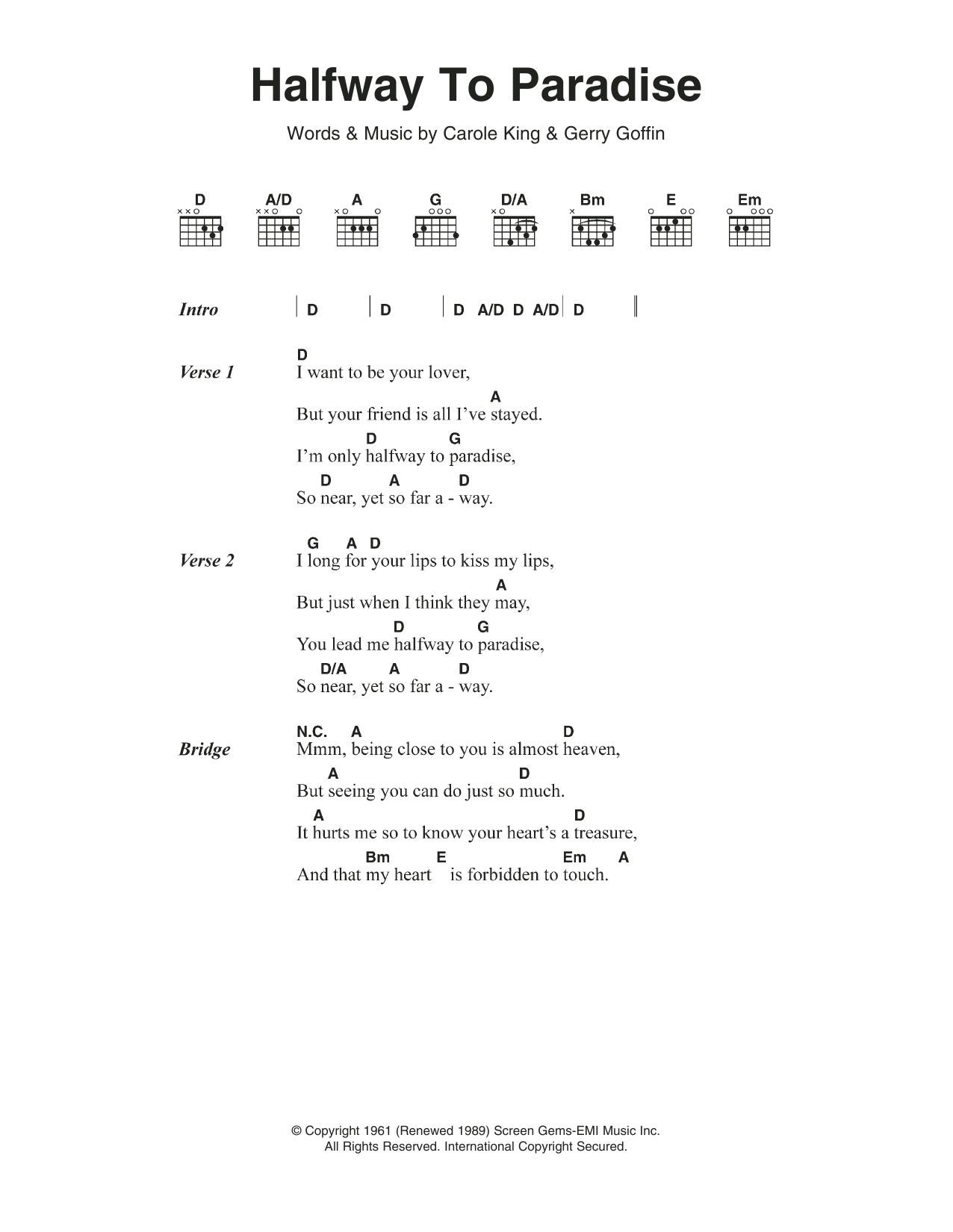Halfway To Paradise by Billy Fury   Guitar Chords/Lyrics   Guitar ...