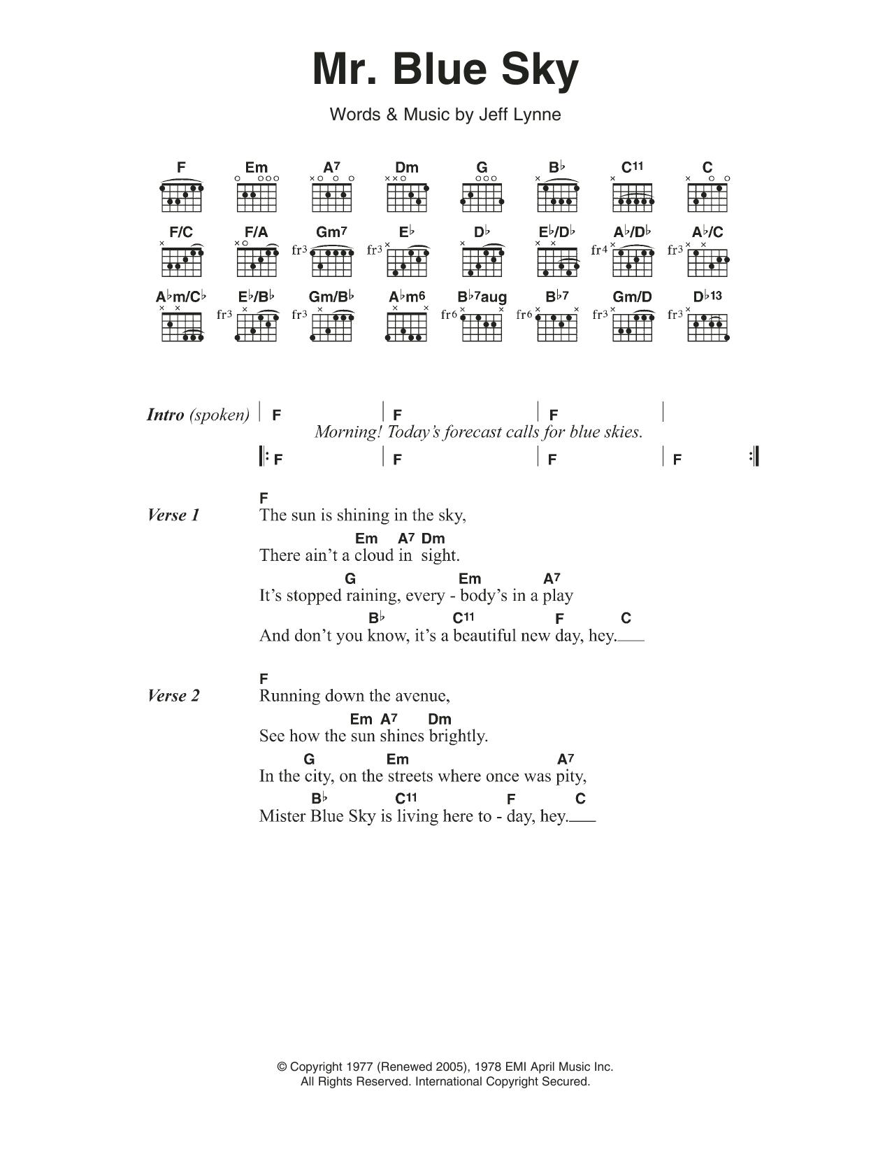 Mr Blue Sky By Electric Light Orchestra Guitar Chordslyrics