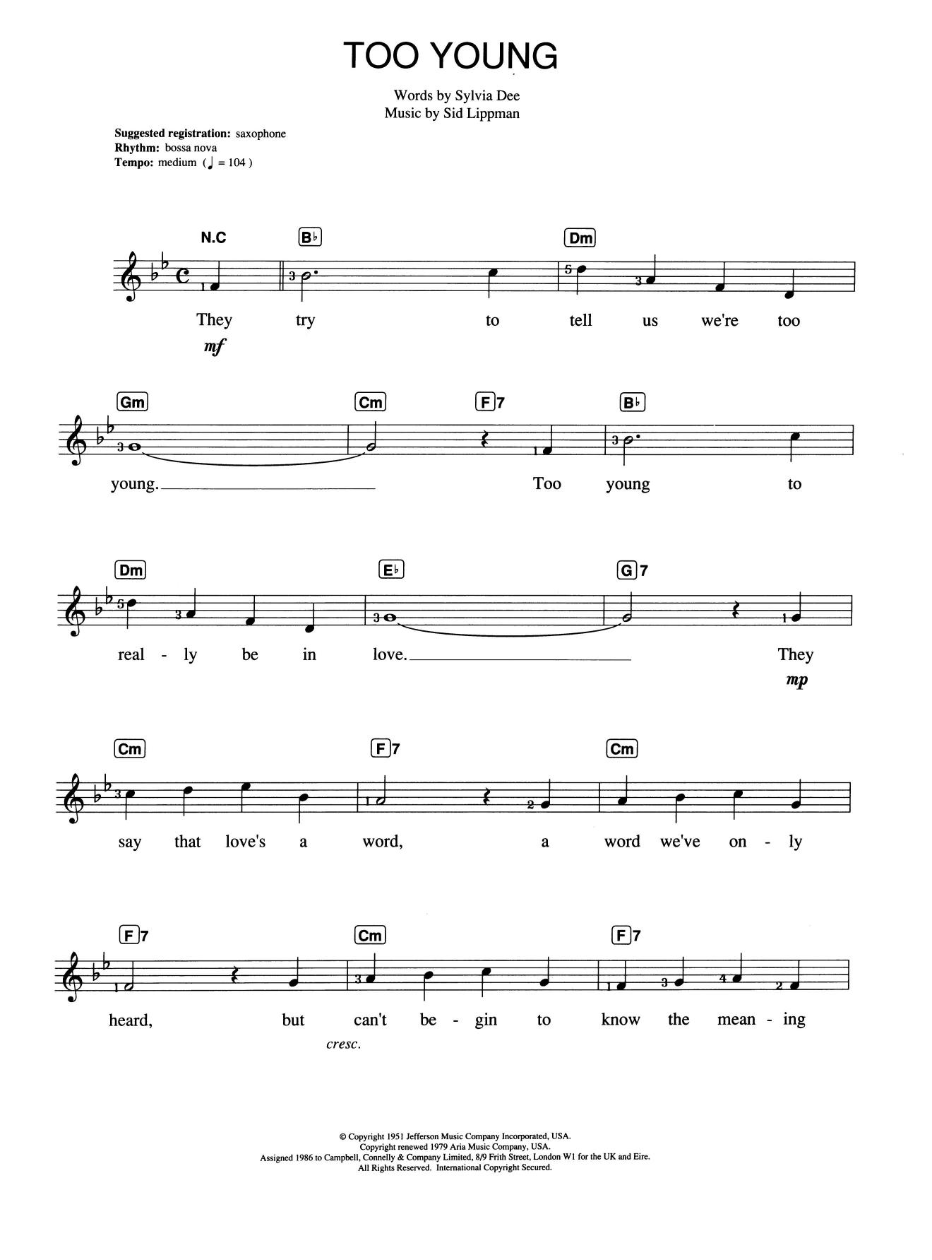 Too Young Sheet Music   Nat King Cole   Piano Chords/Lyrics