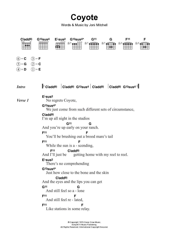 Coyote By Joni Mitchell Guitar Chordslyrics Guitar Instructor