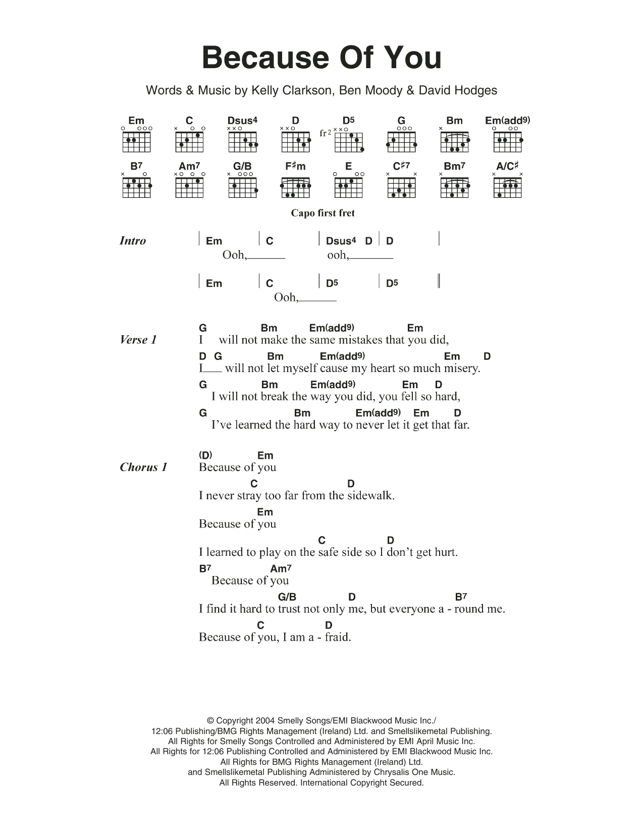 Because Of You By Kelly Clarkson Piano Vocal Guitar Right Hand Melody Digital Sheet Music