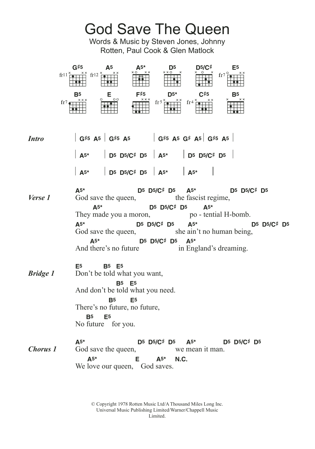 God Save The QueenThe Sex Pistols Guitar Chords Lyrics 04cc46216