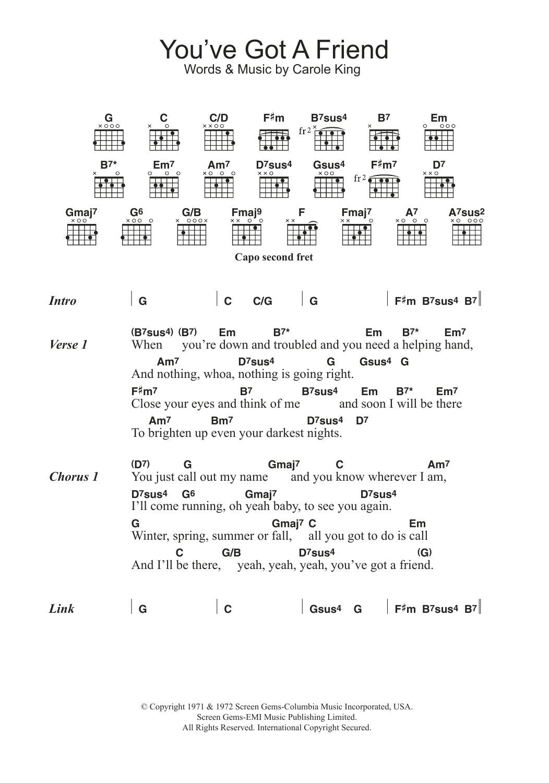 You Ve Got A Friend By Carole King Guitar Chords Lyrics
