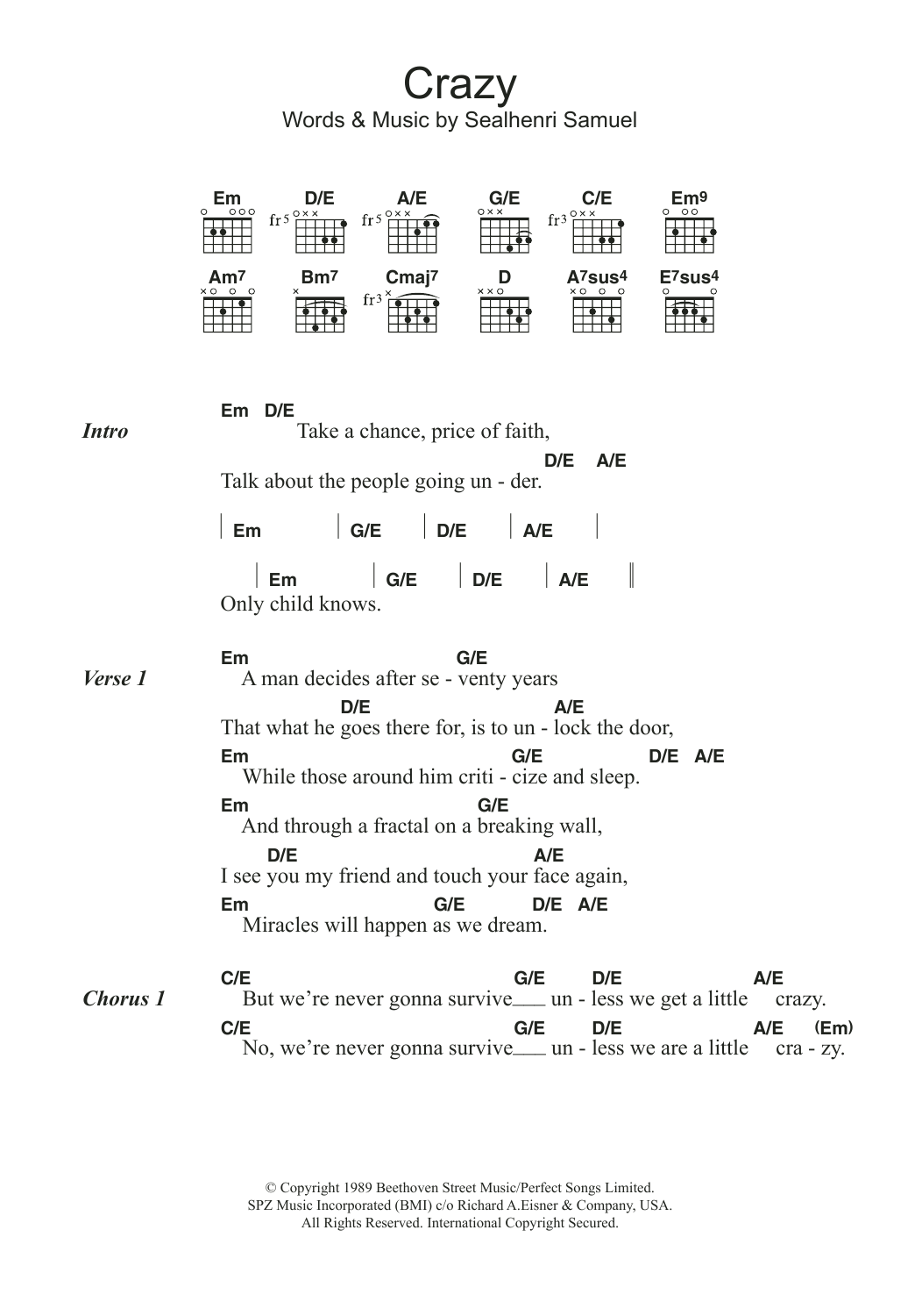 Crazy by seal guitar chordslyrics guitar instructor the most accurate tab hexwebz Choice Image
