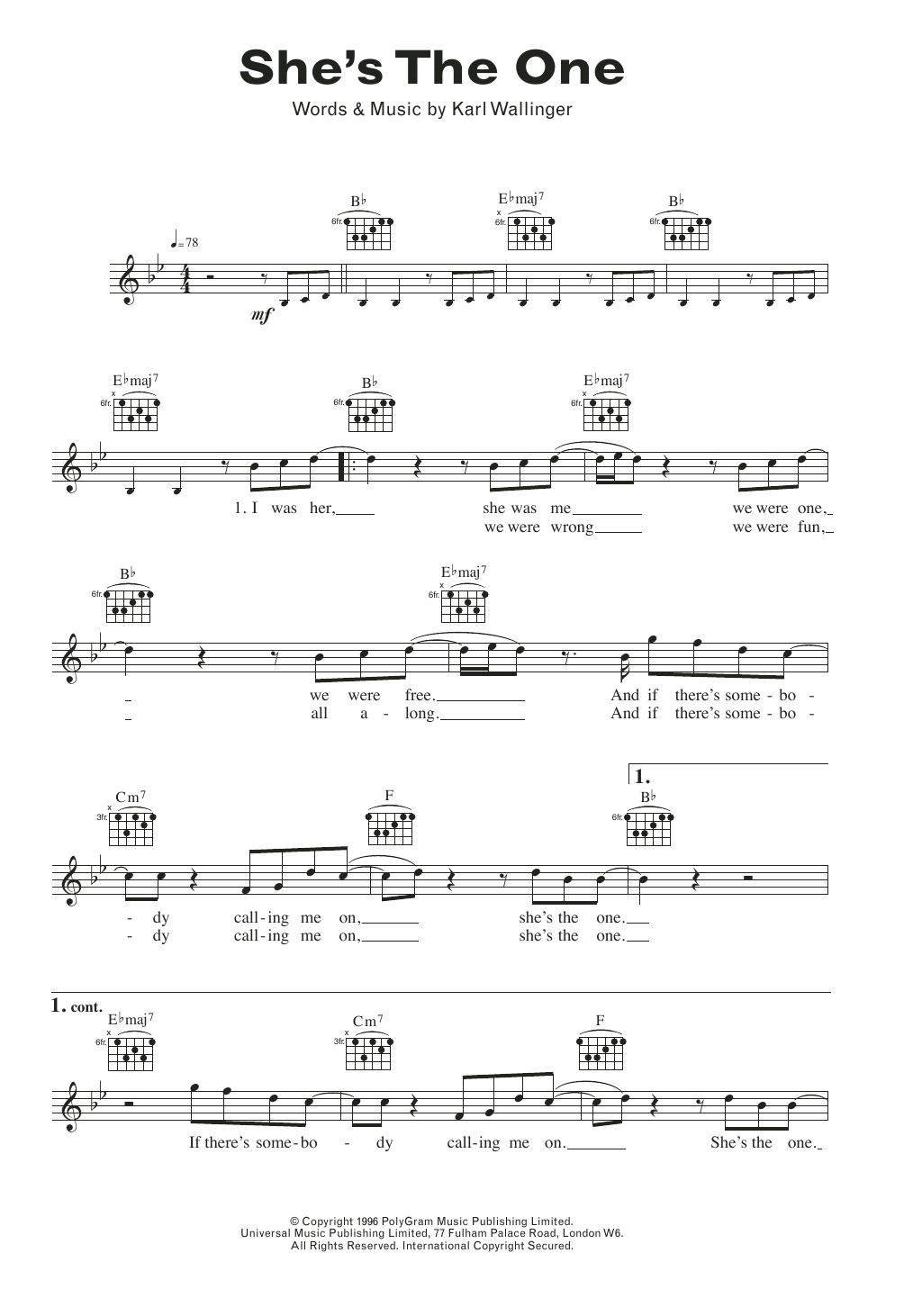 She's The One Sheet Music