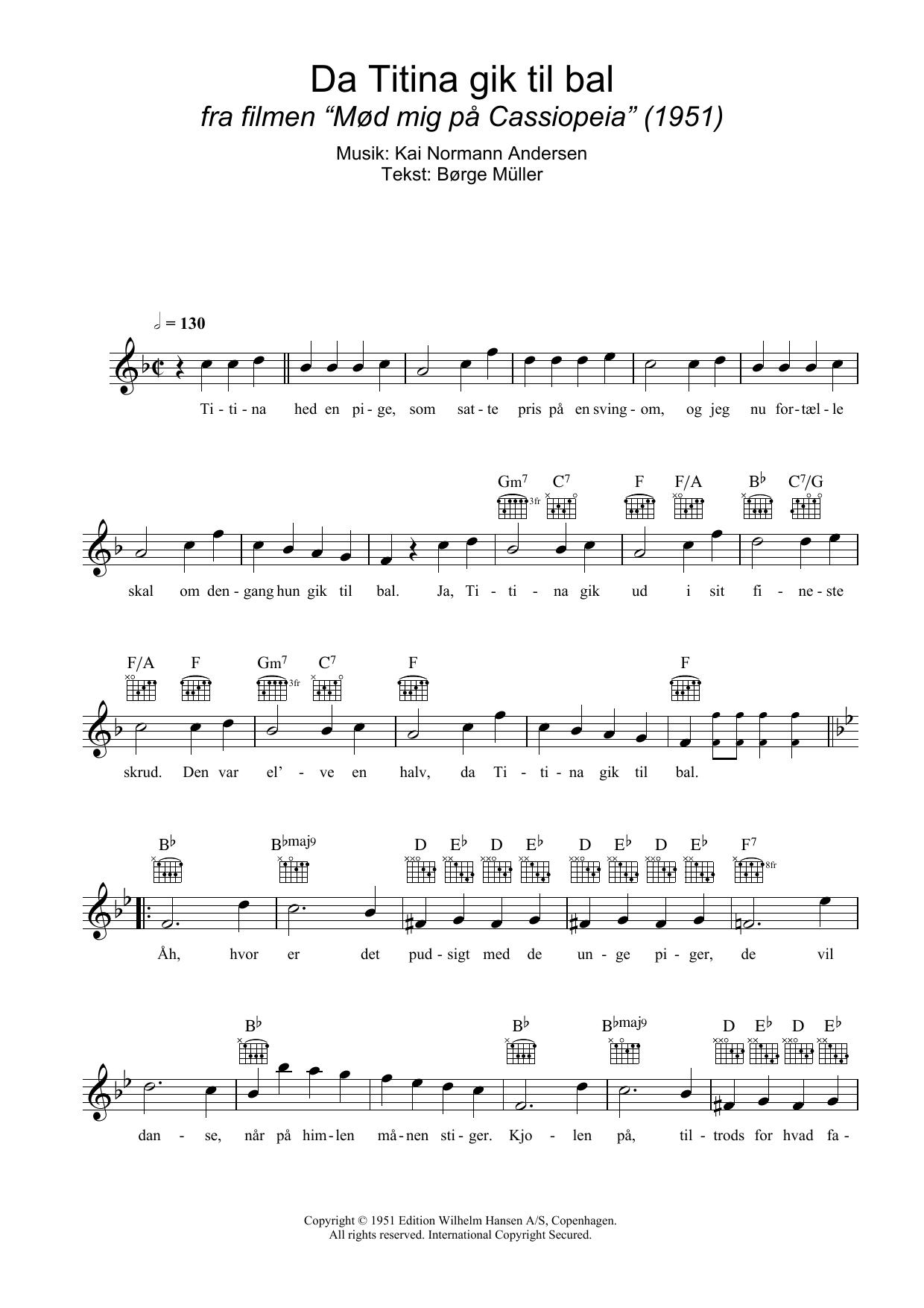 Da Titina Gik Til Bal Sheet Music