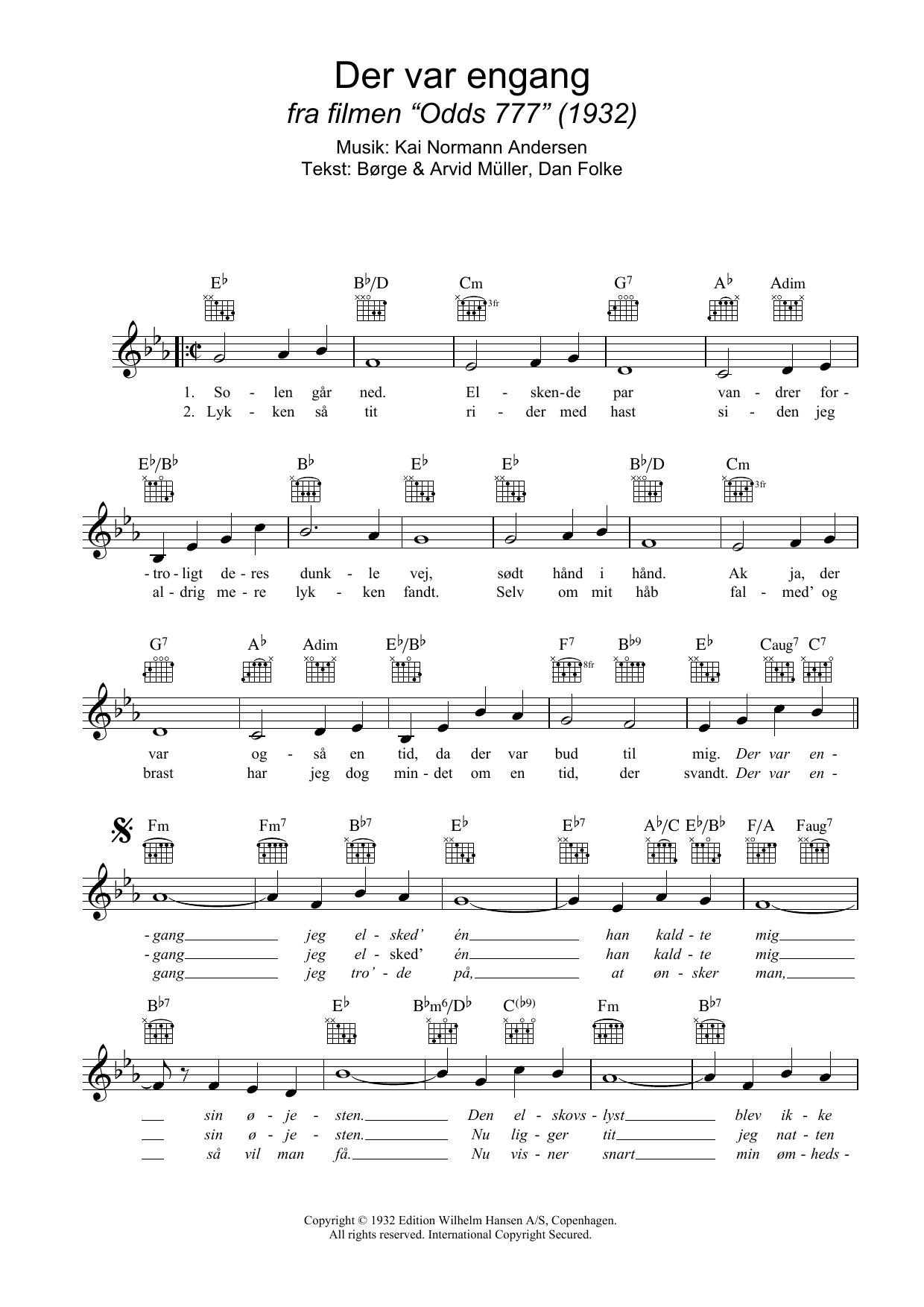 Der Var Engang Sheet Music