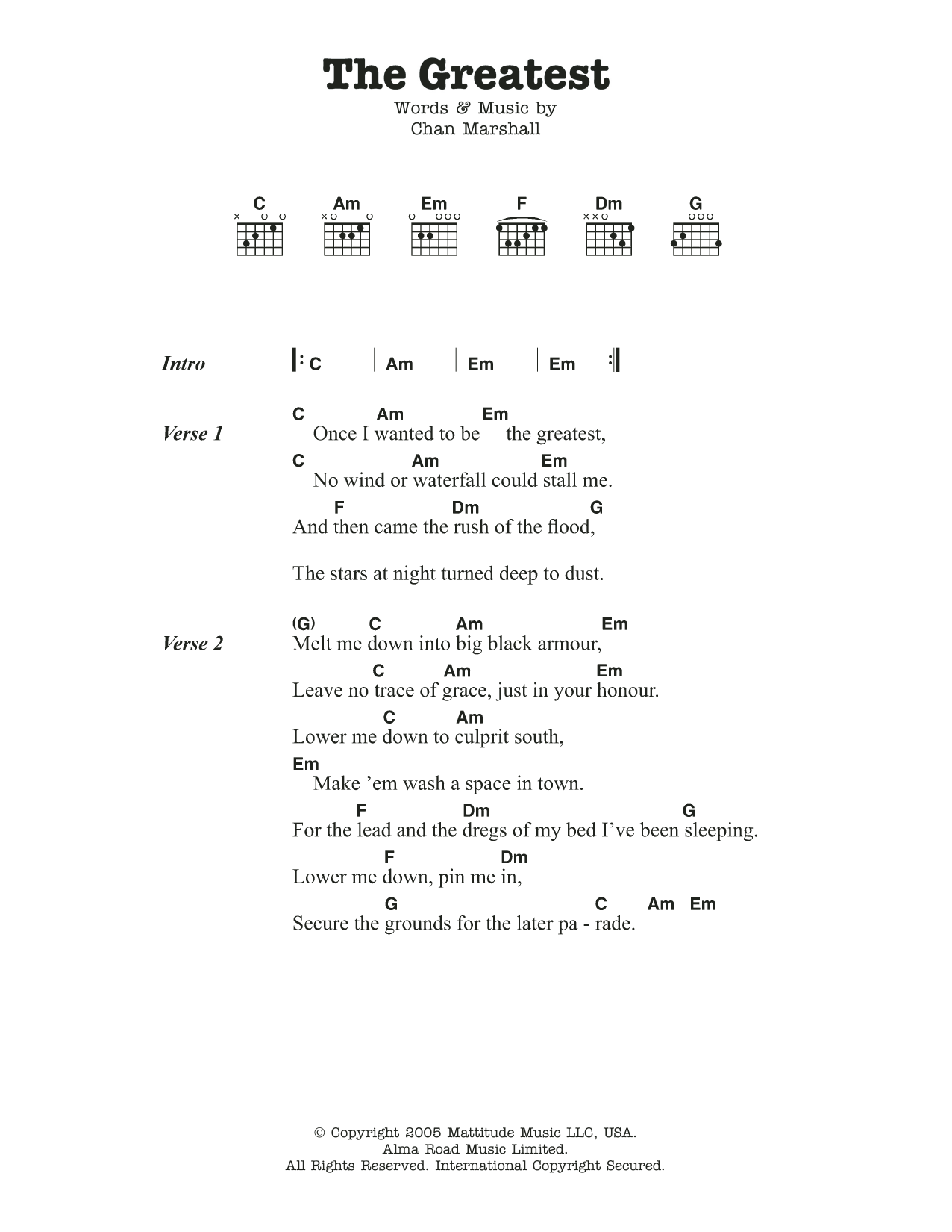 The Greatest by Cat Power Guitar Chords/Lyrics Digital Sheet Music