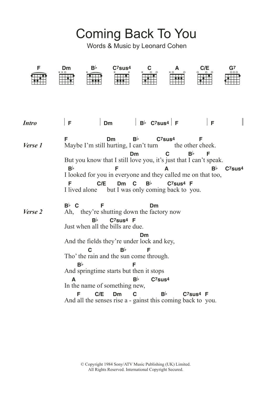 Coming back to you lyrics leonard cohen