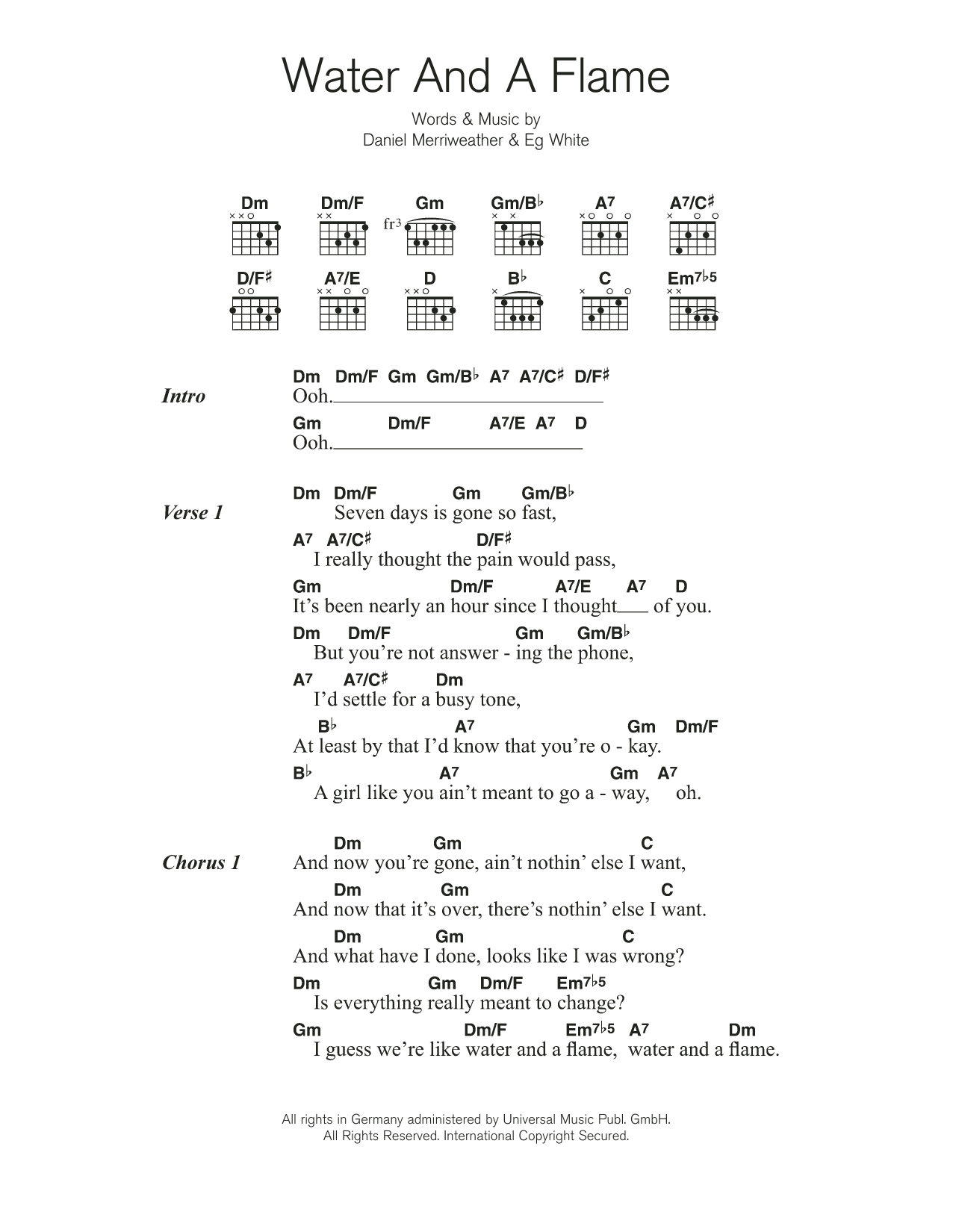 Water And A Flame (featuring Adele) Sheet Music
