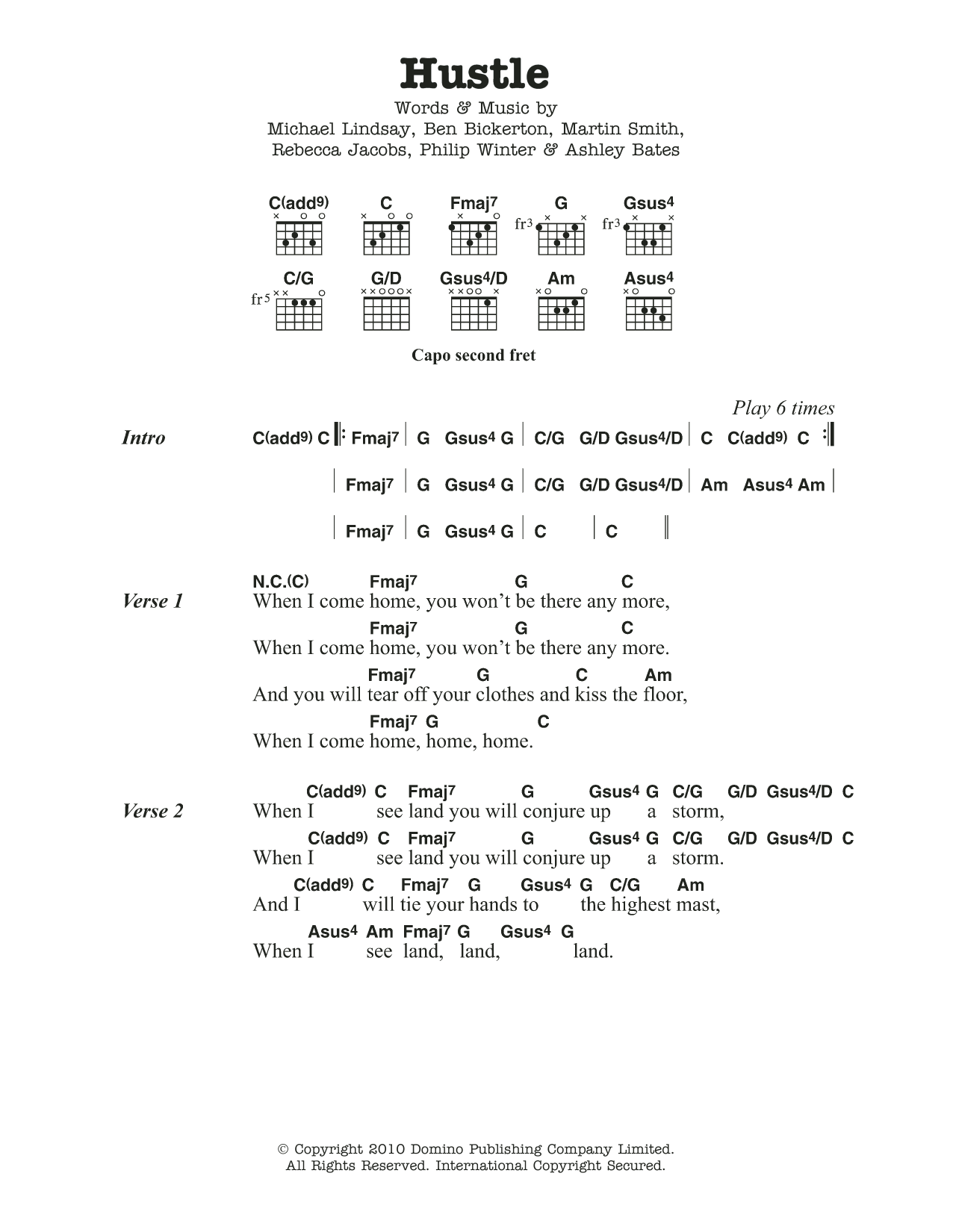 Hustle By Tunng Guitar Chordslyrics Guitar Instructor