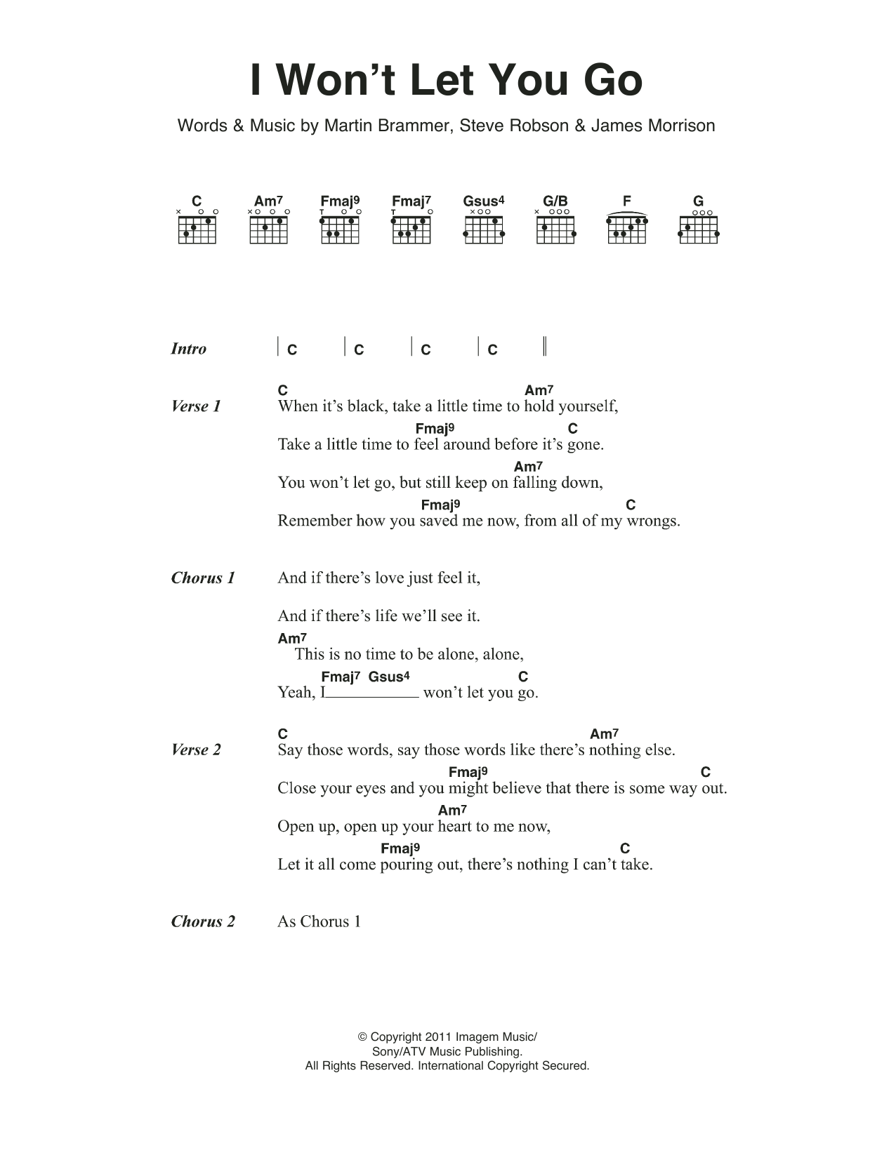 I Wont Let You Go Sheet Music James Morrison Lyrics Chords