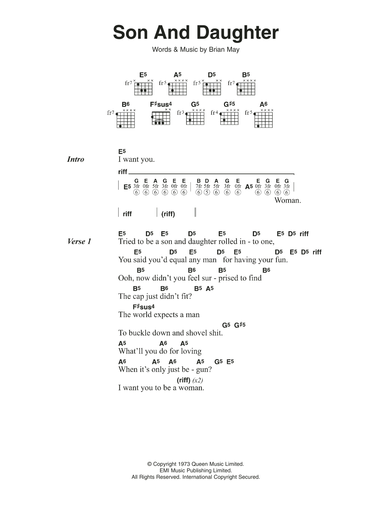 Son And Daughter by Queen   Guitar Chords/Lyrics   Guitar Instructor