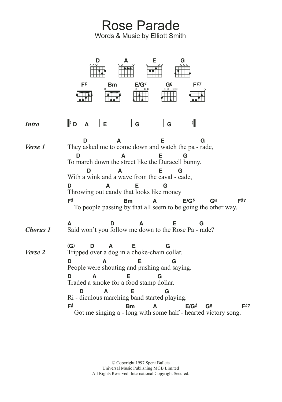 Rose Parade Sheet Music Elliott Smith Guitar Chords Lyrics