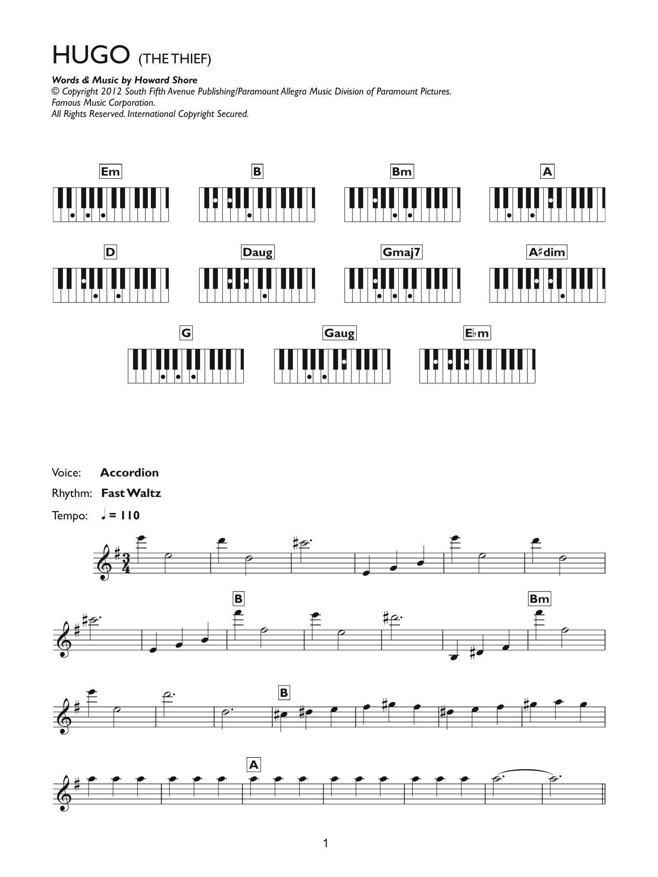 The Thief (from Hugo) Sheet Music