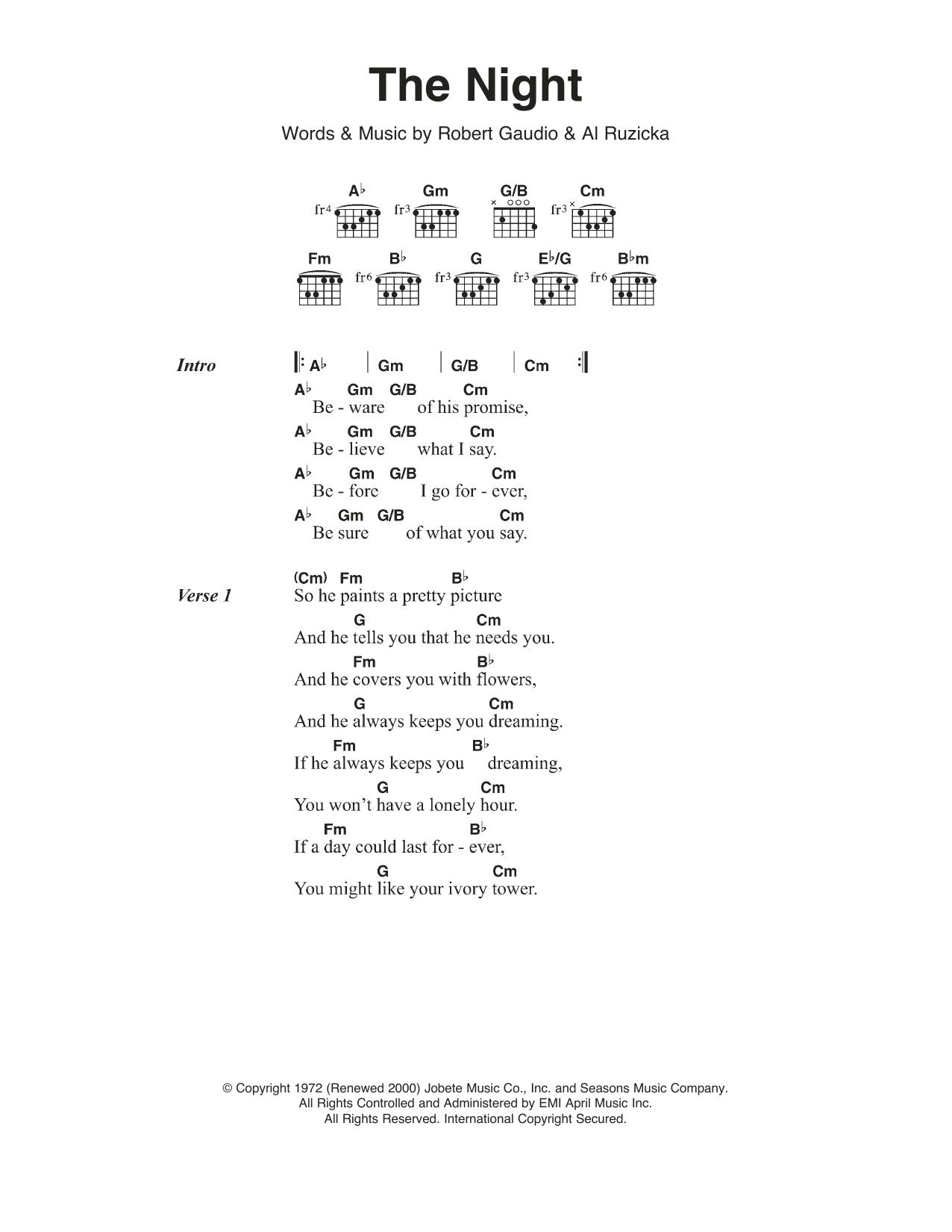The Night By Frankie Valli The Four Seasons Guitar Chordslyrics