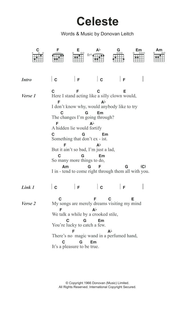 Celeste By Donovan Guitar Chordslyrics Guitar Instructor