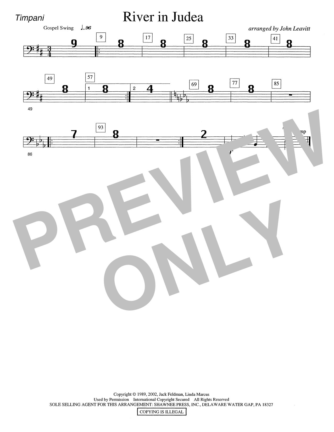 River in Judea - Timpani Sheet Music