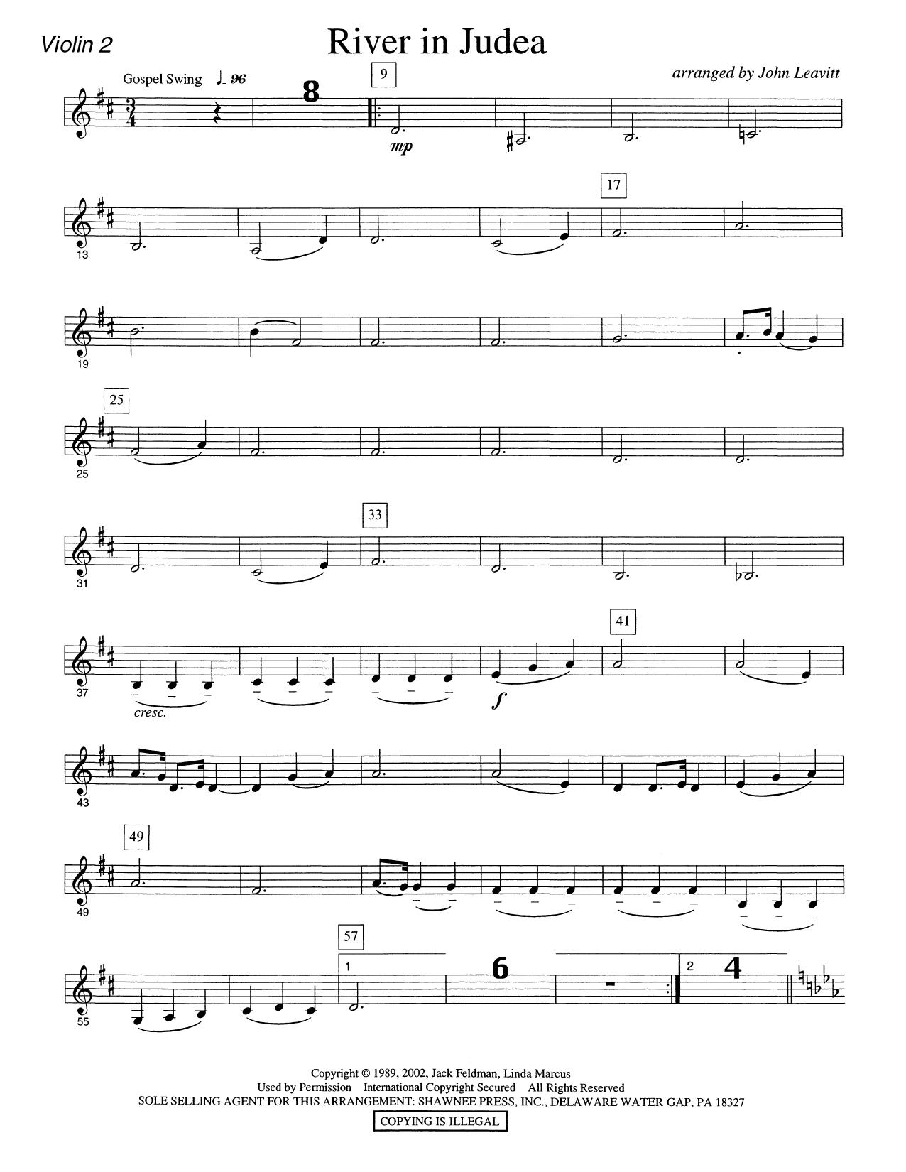 River in Judea - Violin 2 Sheet Music
