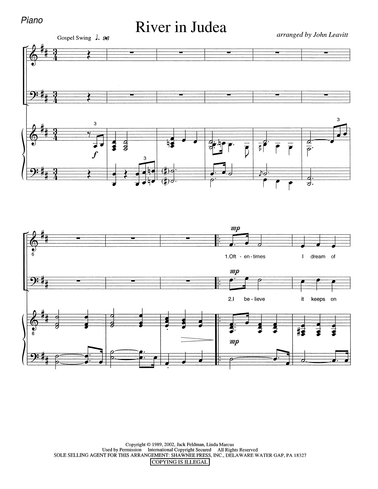 River in Judea - Piano Sheet Music