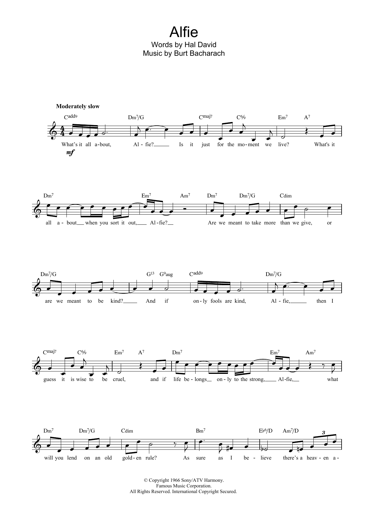 alfie sheet music - Lyrics To Blue Christmas