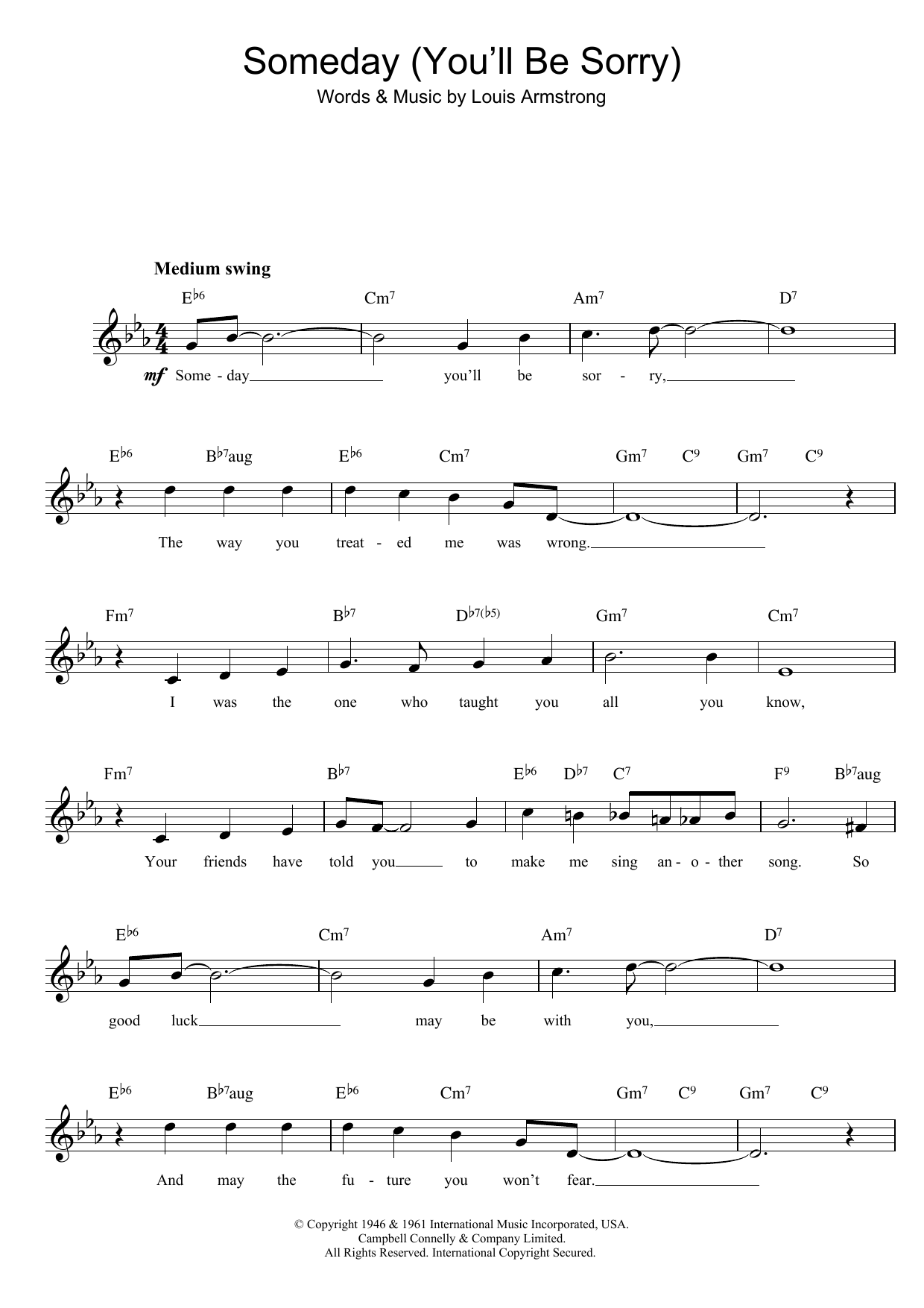 someday you 39 ll be sorry sheet music louis armstrong lead sheet fake book. Black Bedroom Furniture Sets. Home Design Ideas