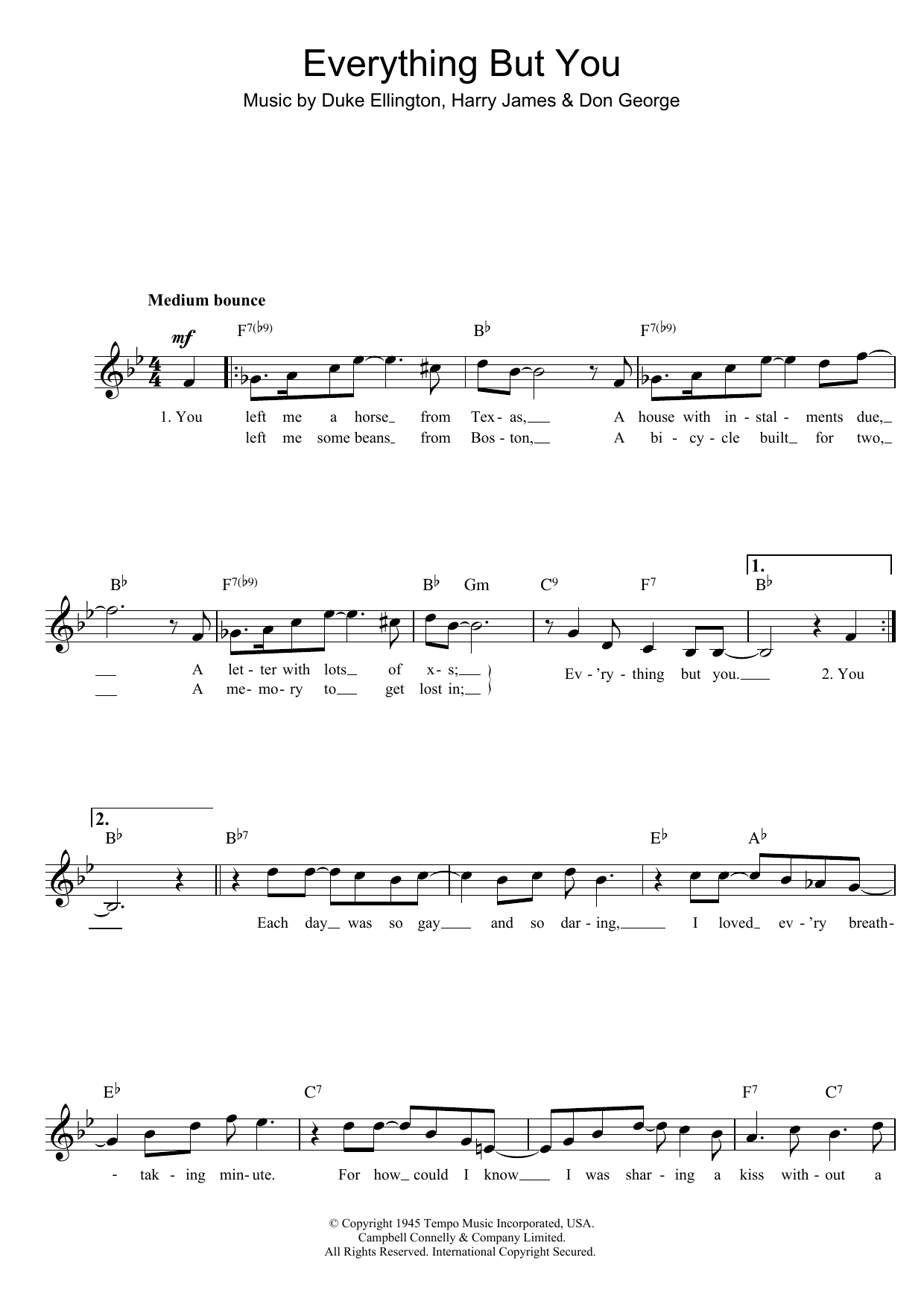 Everything But You Sheet Music