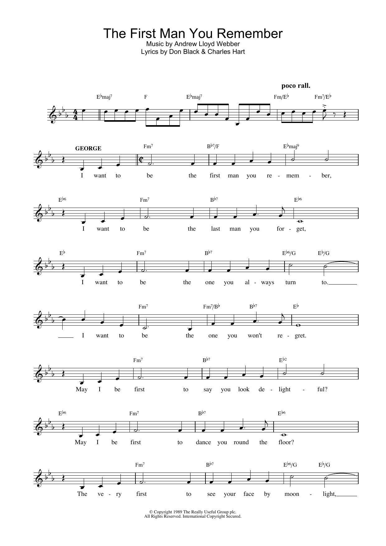 The First Man You Remember (from Aspects Of Love) Sheet Music