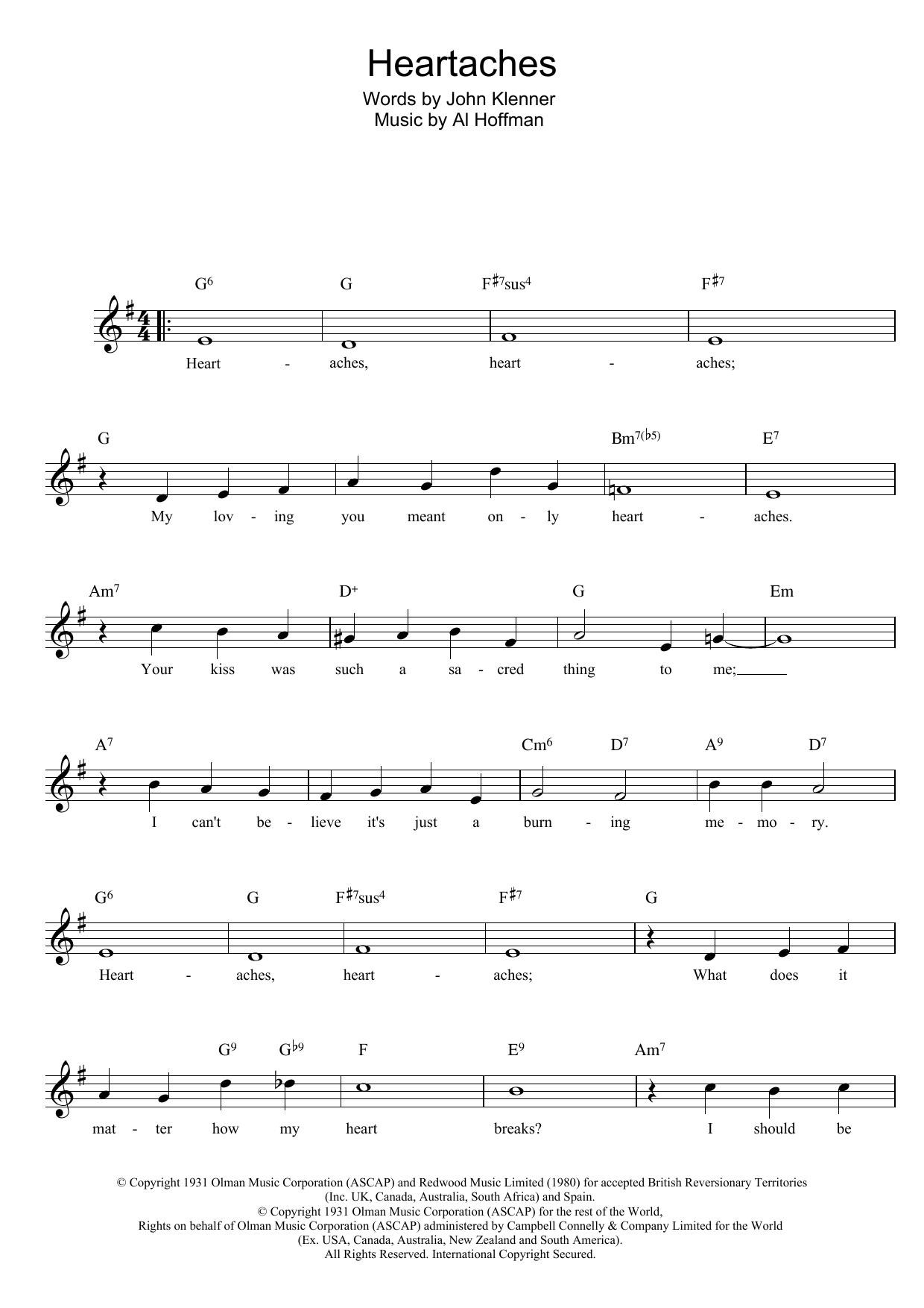 Heartaches Sheet Music