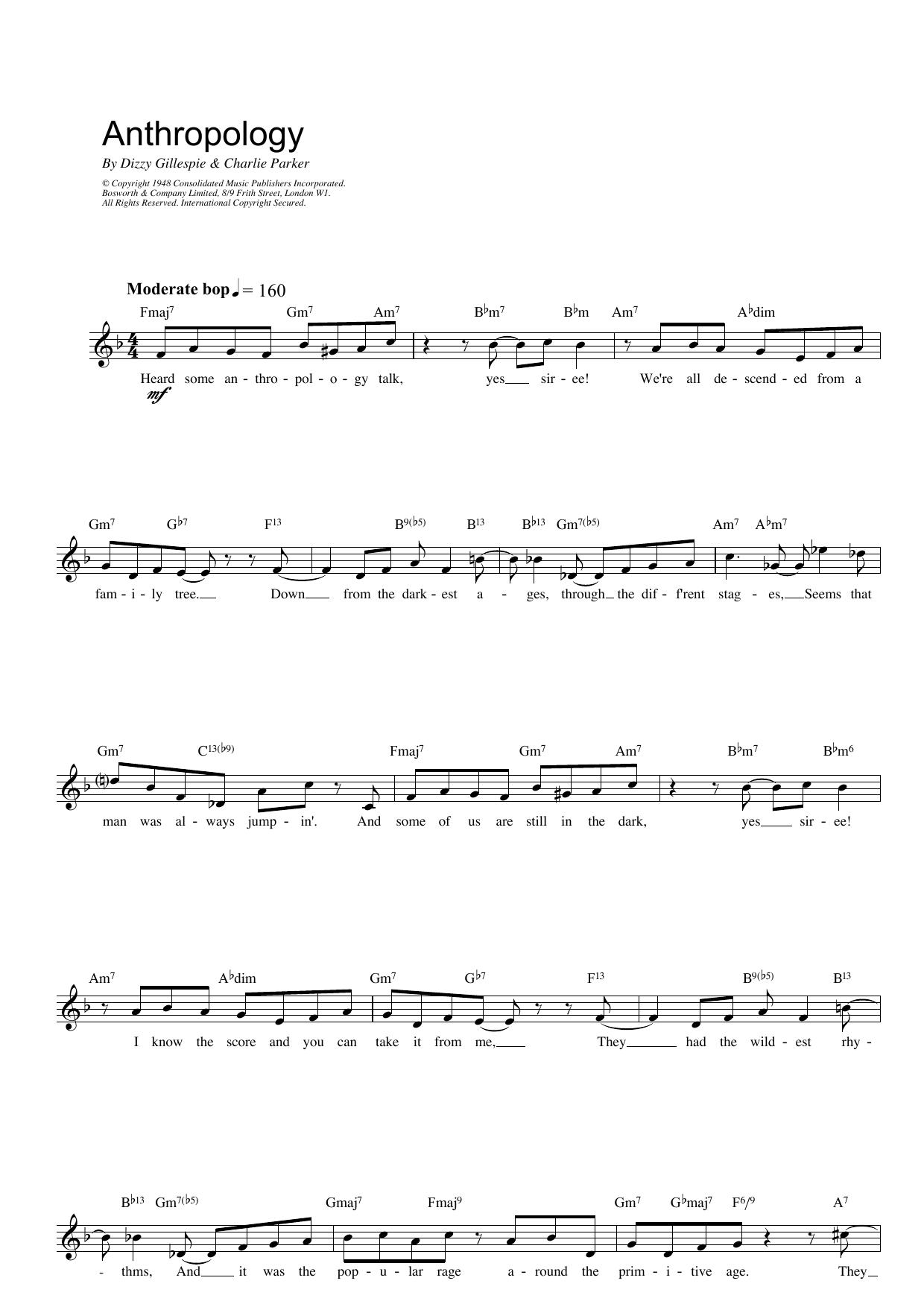 Anthropology Sheet Music