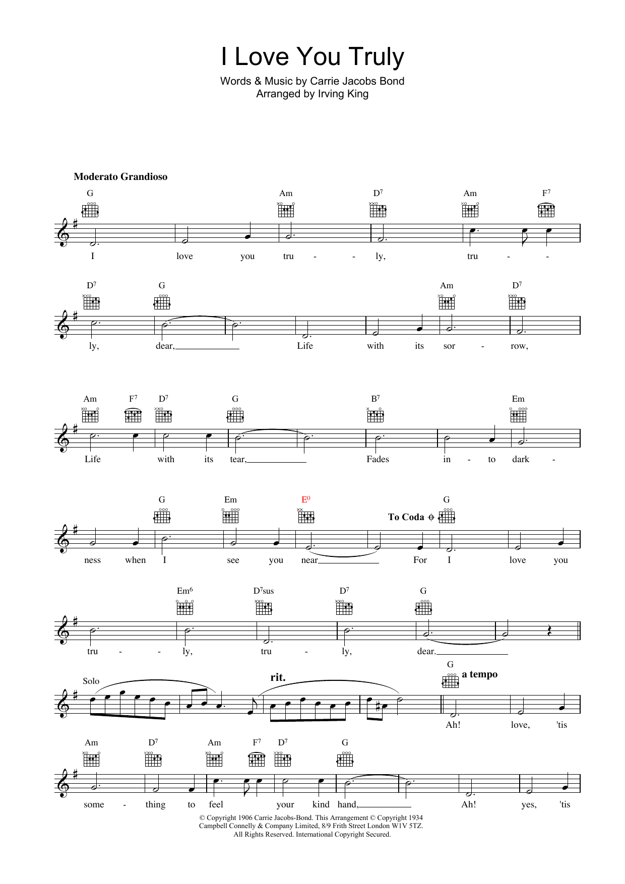 I Love You Truly Sheet Music