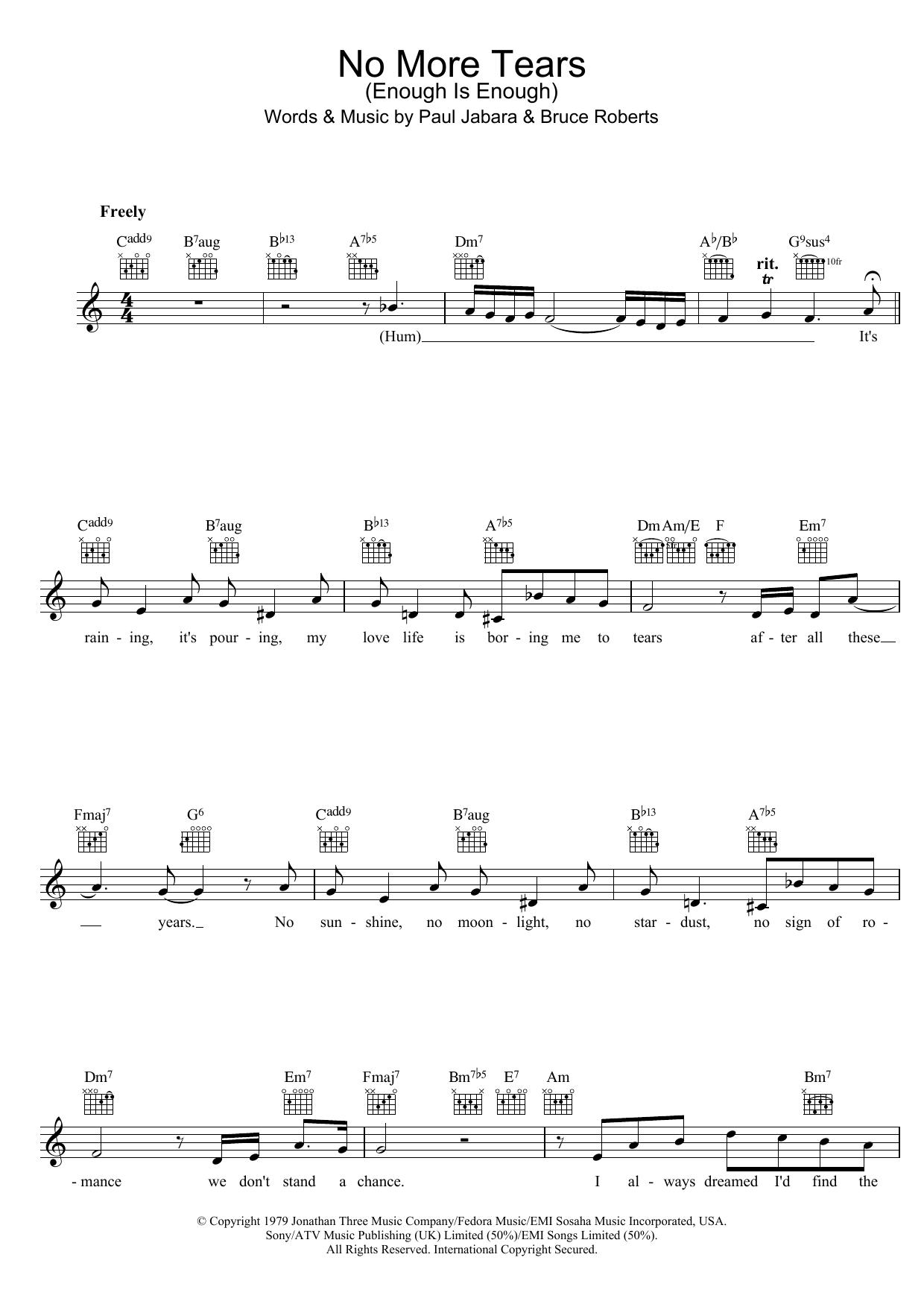 No More Tears (Enough Is Enough) Sheet Music