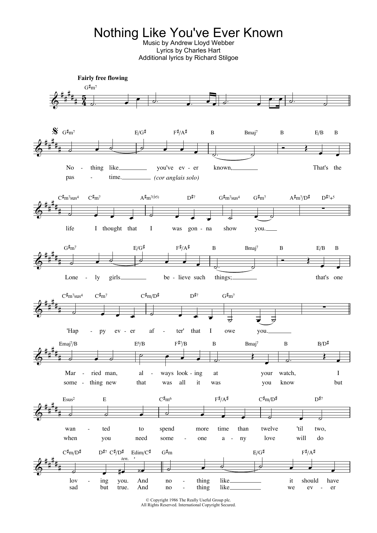 Nothing Like You've Ever Known (from Tell Me On A Sunday) Sheet Music