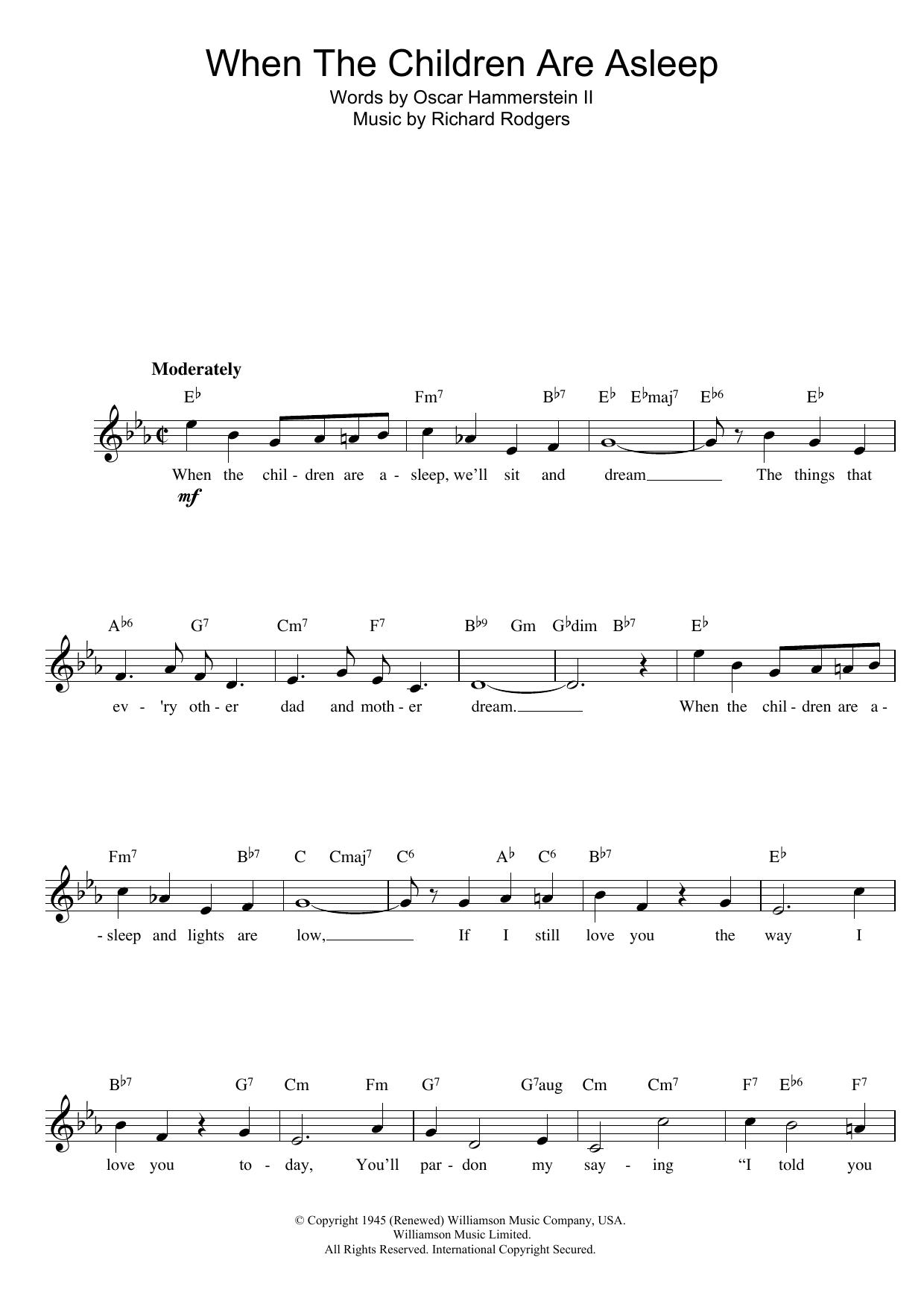 When The Children Are Asleep (from Carousel) Sheet Music