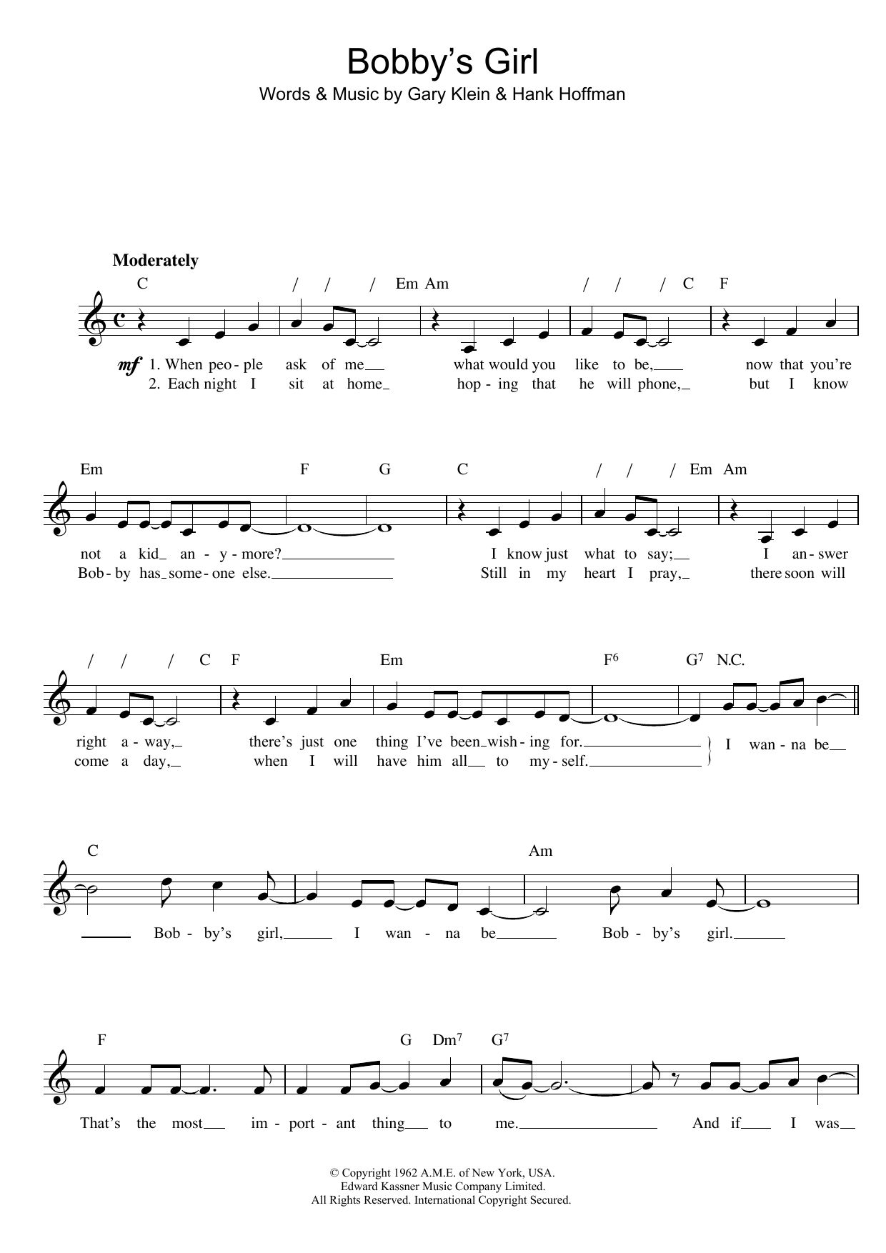 Bobby's Girl Sheet Music