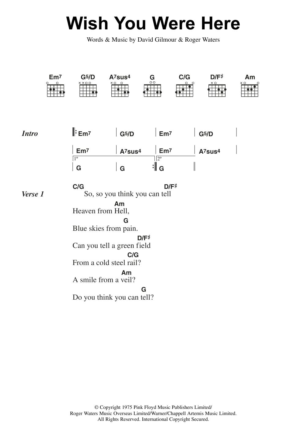 Wish You Were Here by Pink Floyd - Guitar Chords/Lyrics - Guitar Instructor