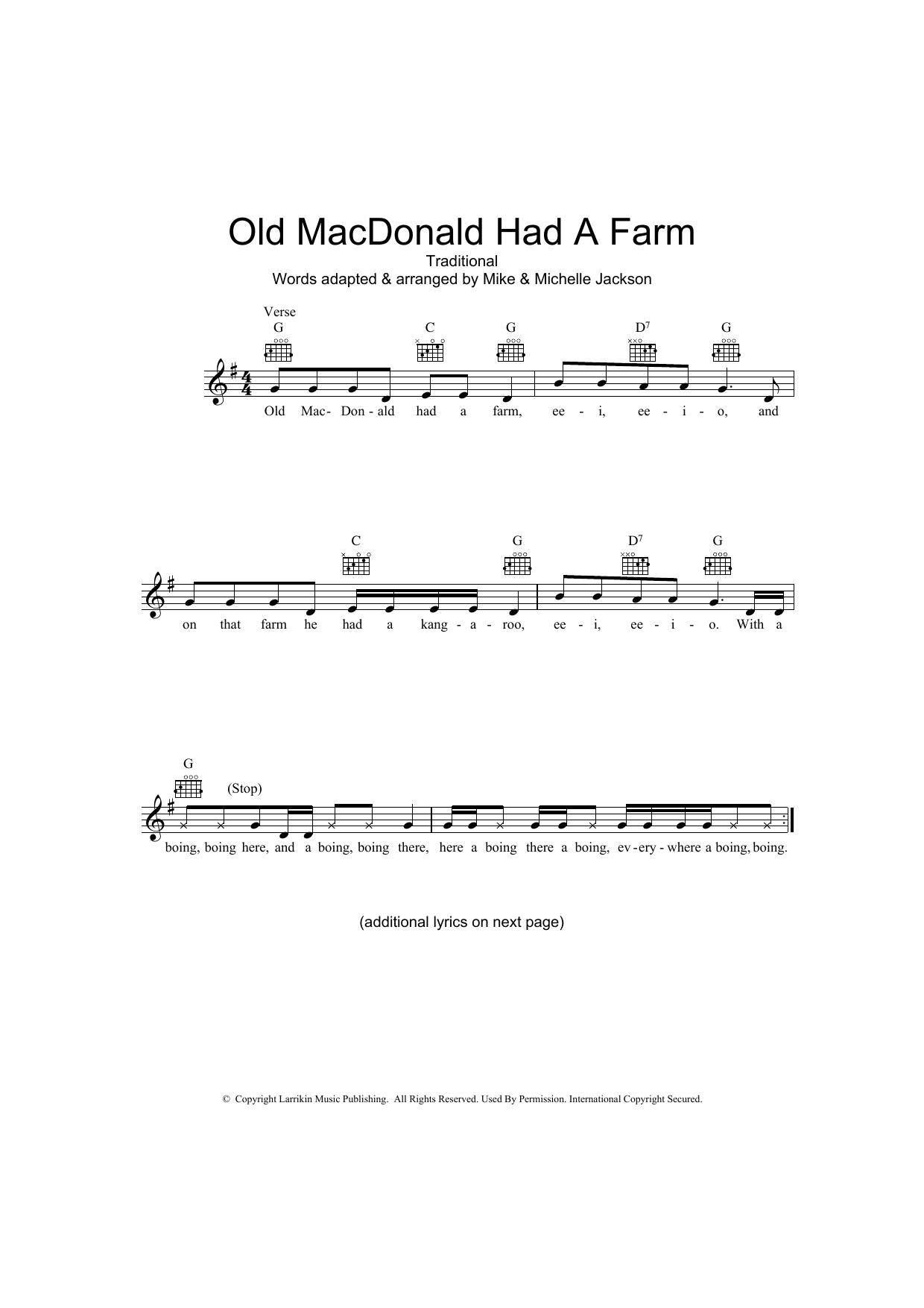 Old MacDonald Had A Farm (Australian version) Sheet Music