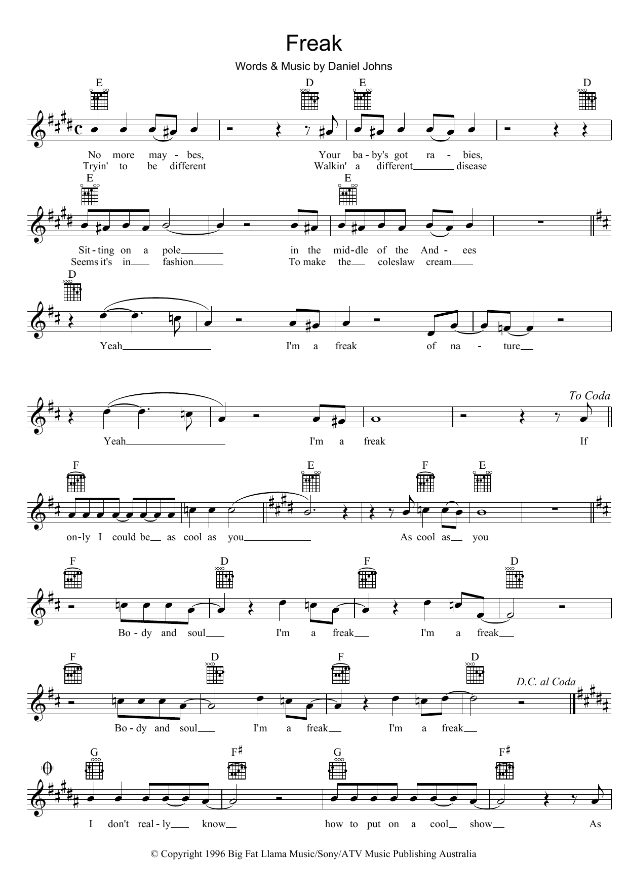 Freak Sheet Music