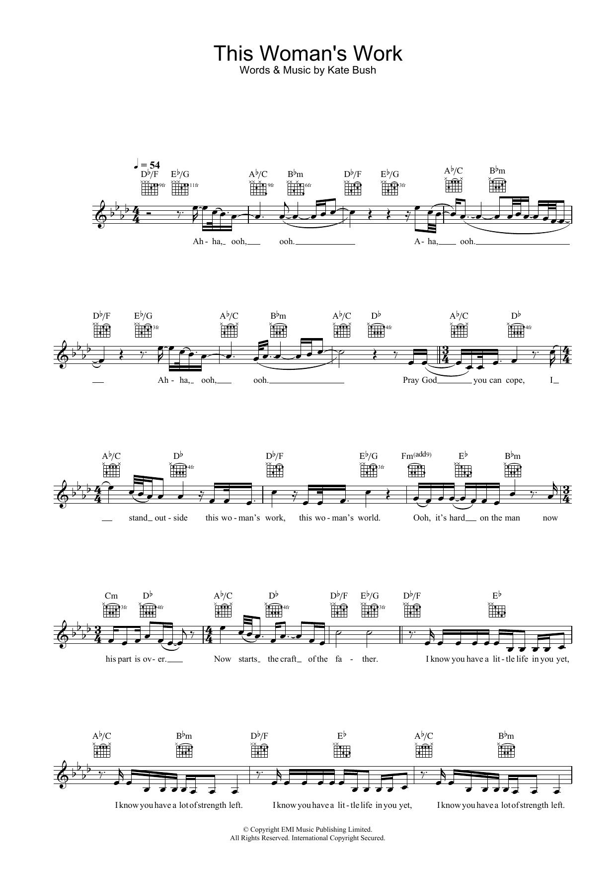 This Woman's Work (from She's Having A Baby) Sheet Music