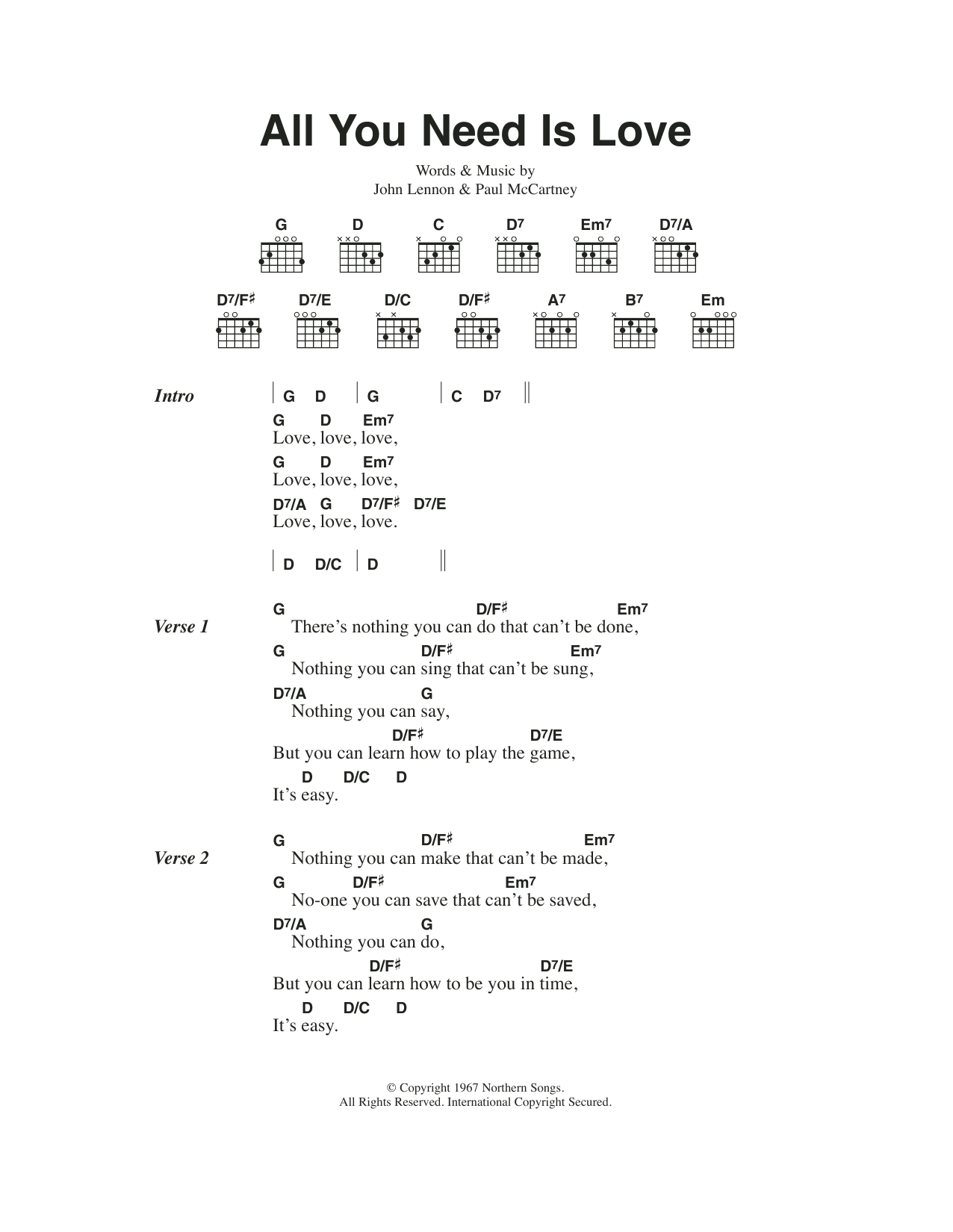All you need is love sheet music direct sheet preview hexwebz Images