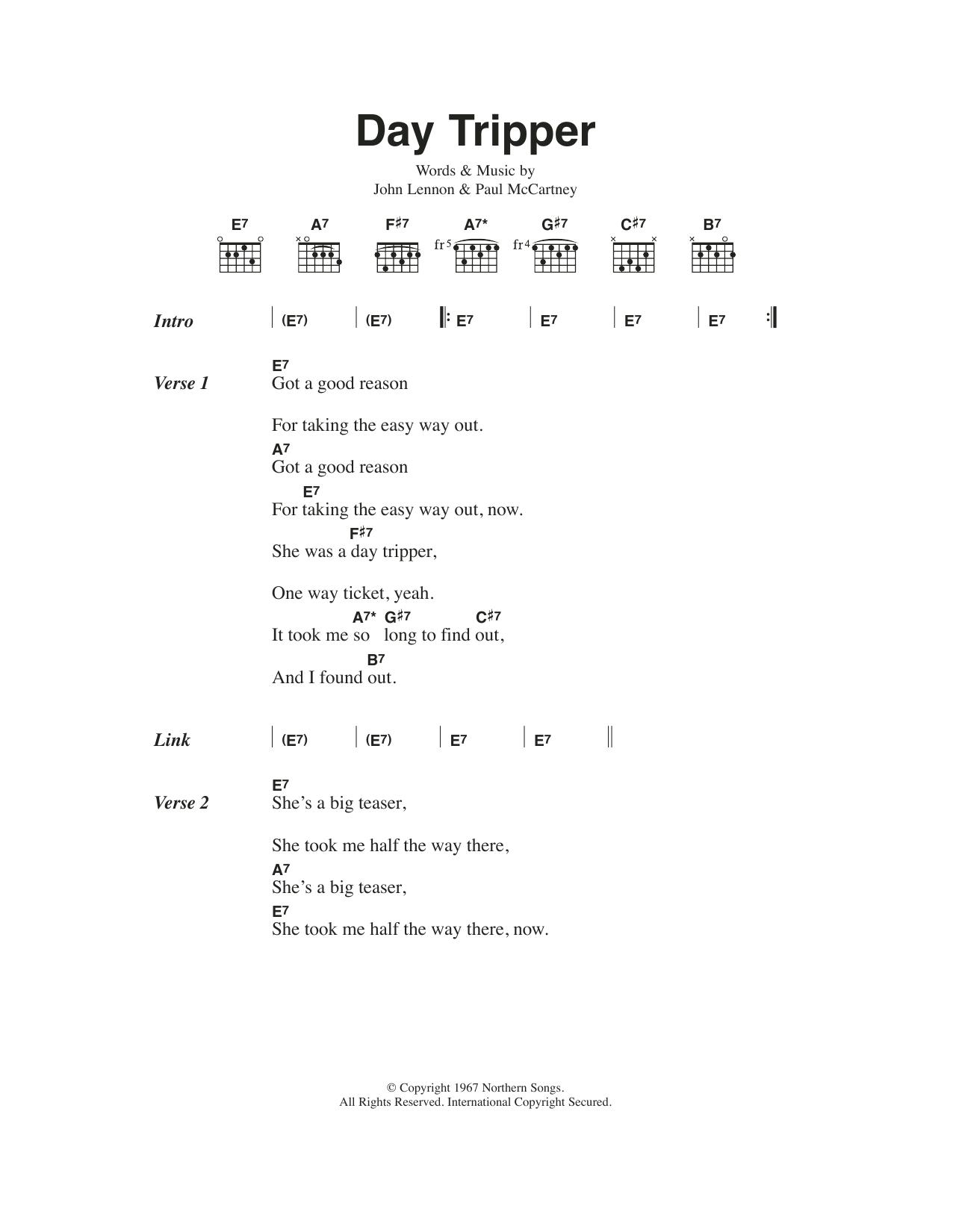 Day Tripper Sheet Music The Beatles Lyrics Chords