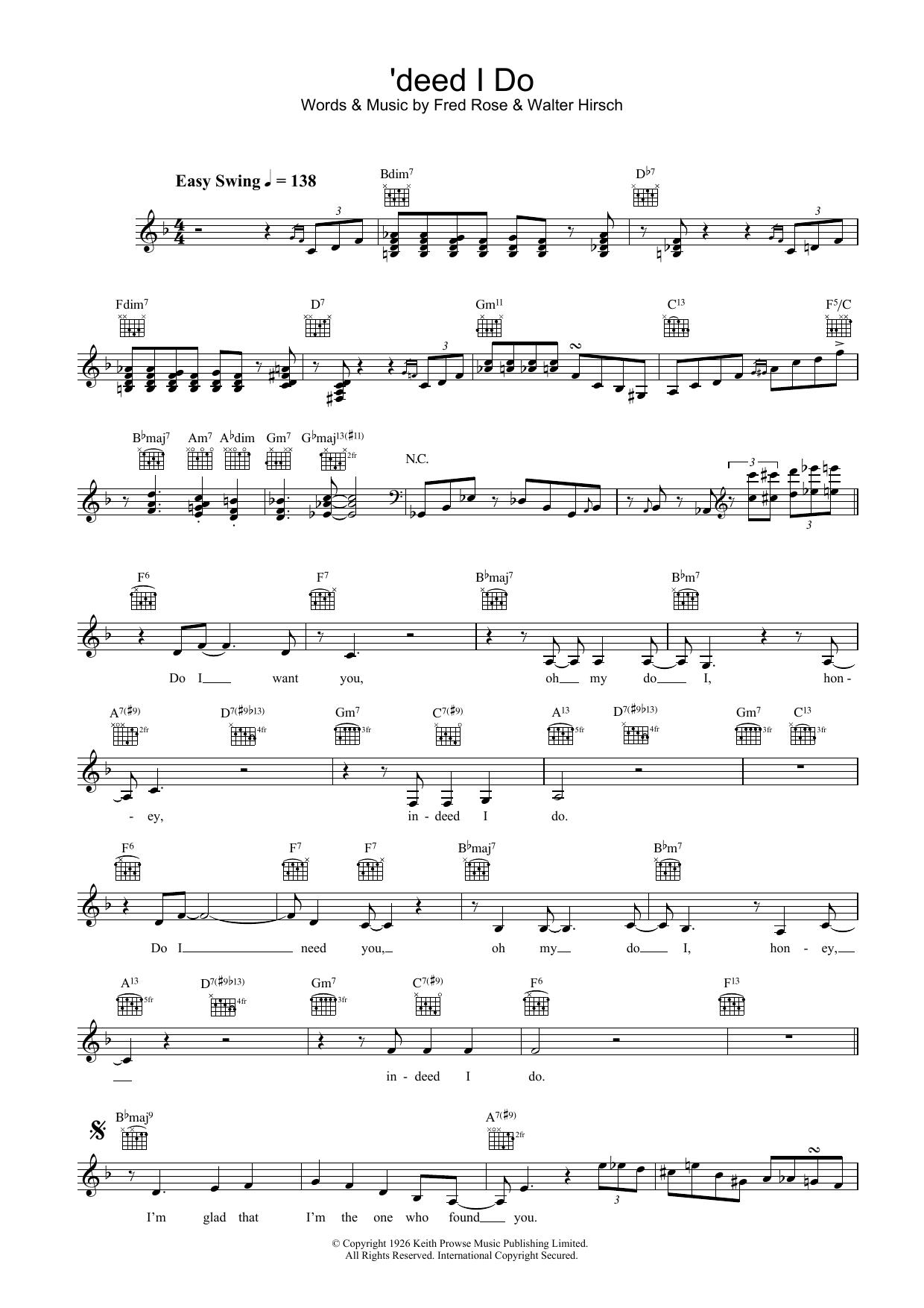'deed I Do Sheet Music
