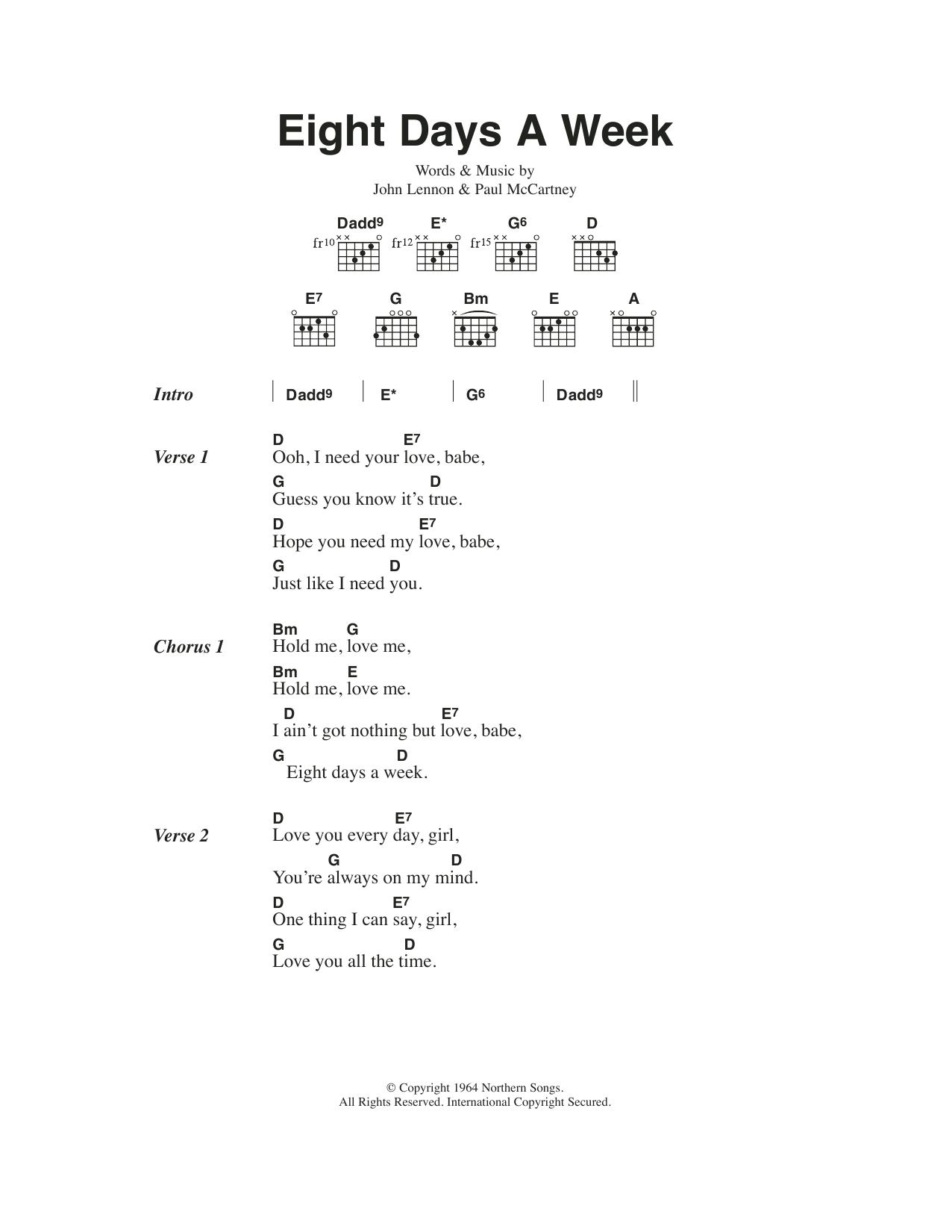 Eight Days A Week (Guitar Chords/Lyrics)
