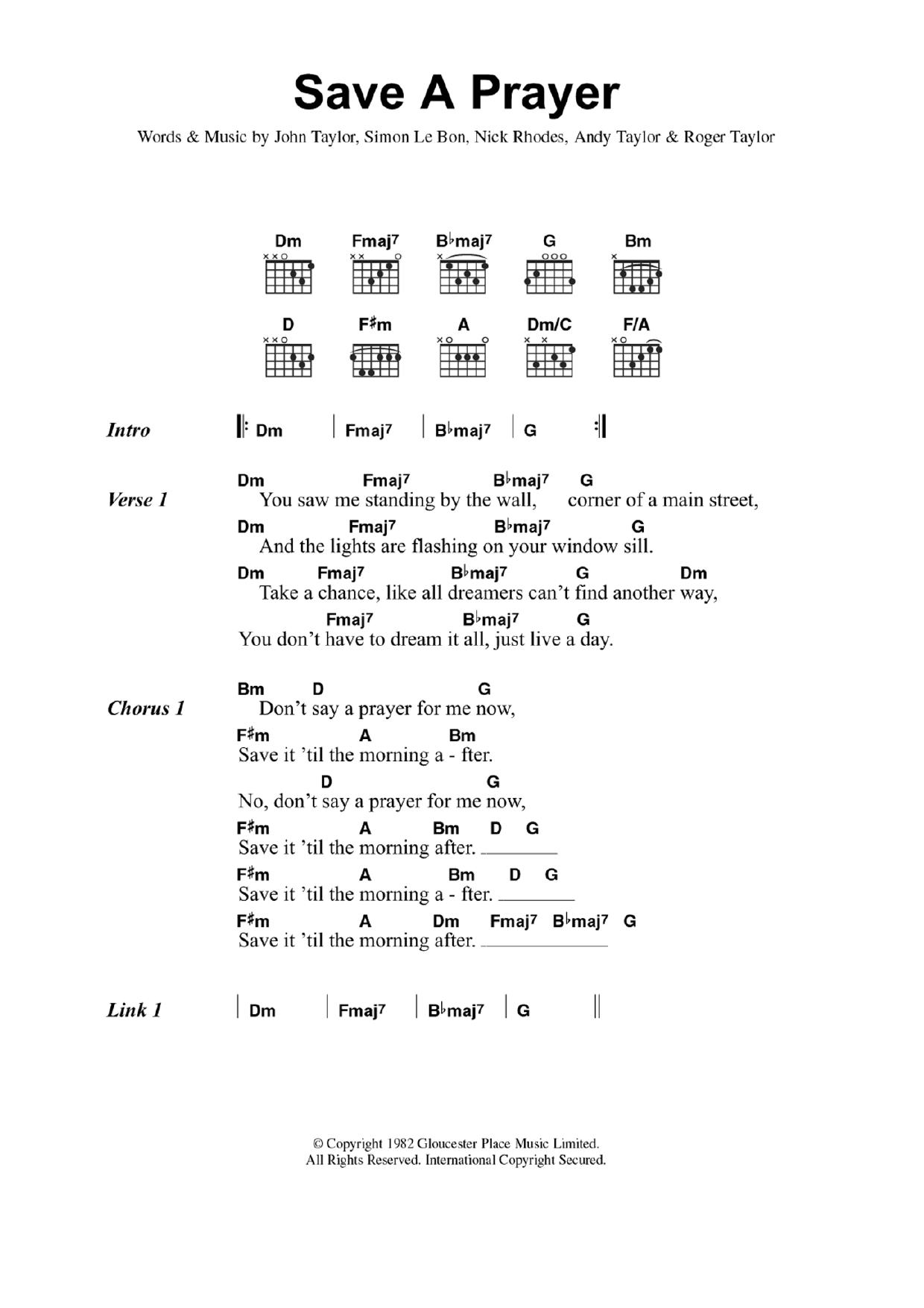 Save A Prayer Til The Morning After By Duran Duran Guitar Chords