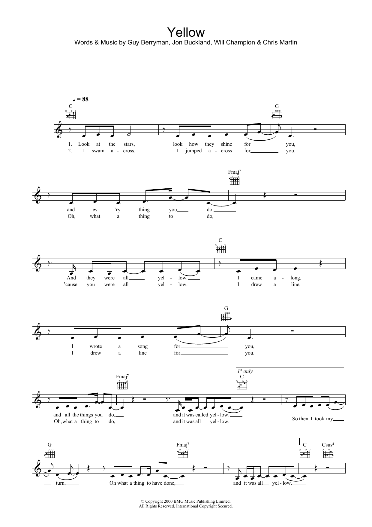 Yellow Sheet Music