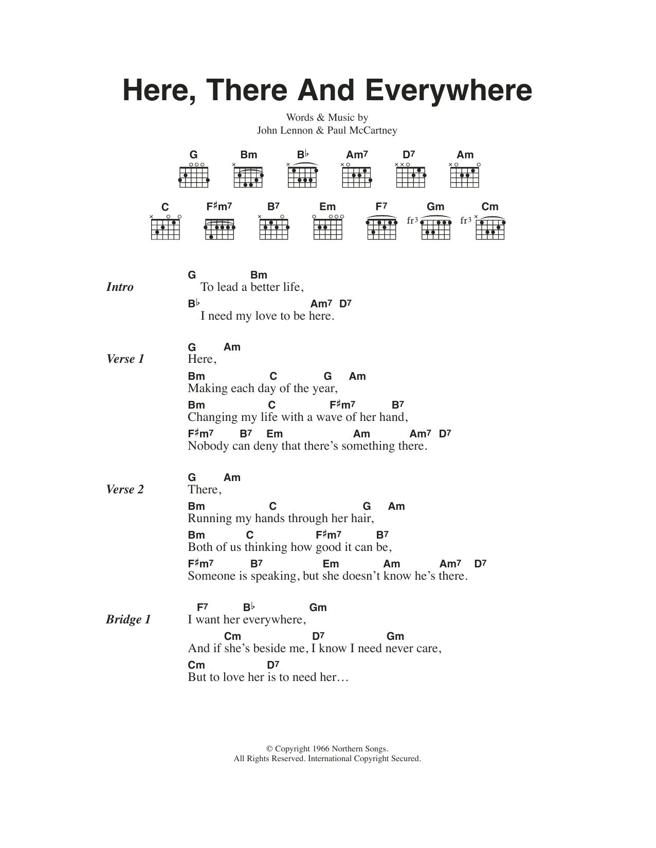 Here, There And Everywhere by The Beatles Piano, Vocal & Guitar Right Hand  Melody Digital Sheet Music