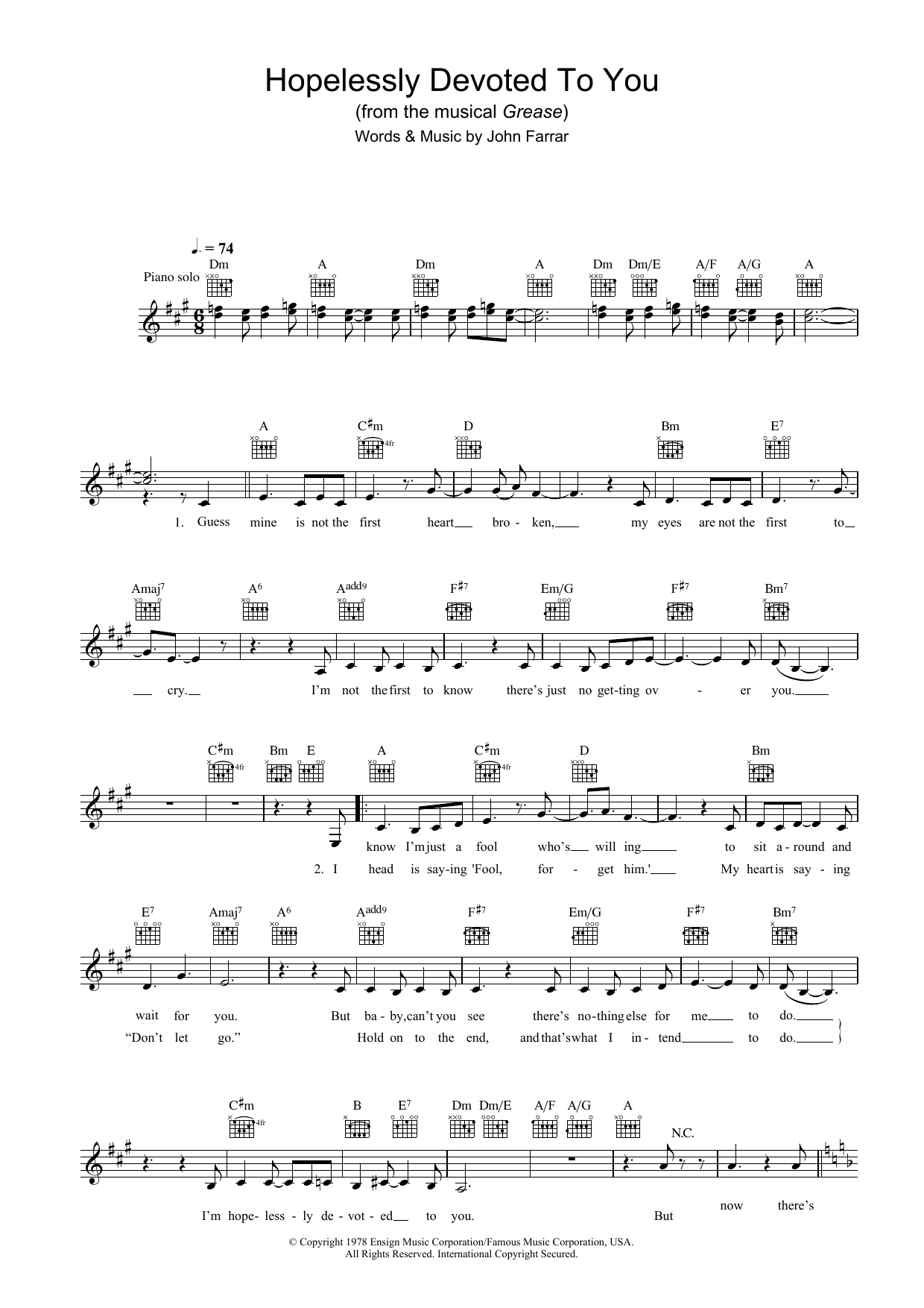 Hopelessly Devoted To You (from Grease) - Sheet Music to