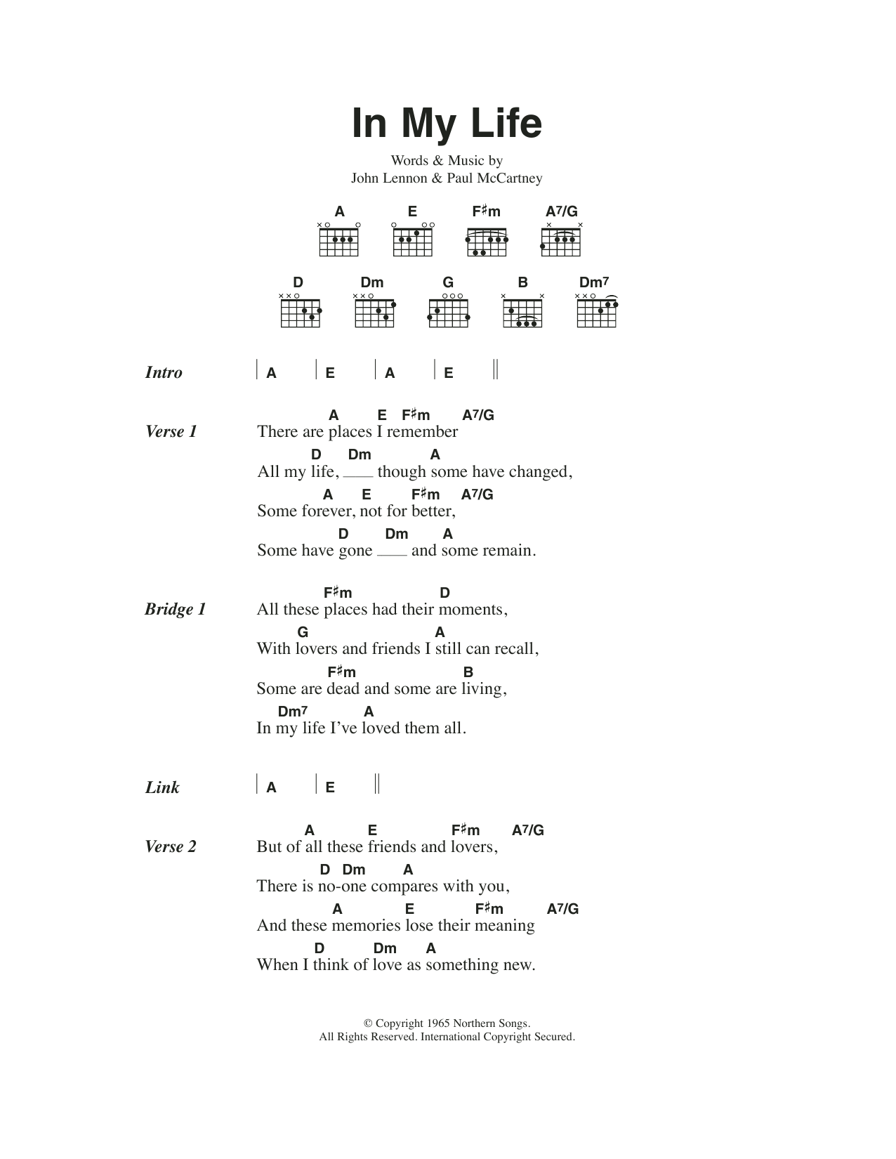 In My Life By The Beatles Guitar Chordslyrics Guitar Instructor