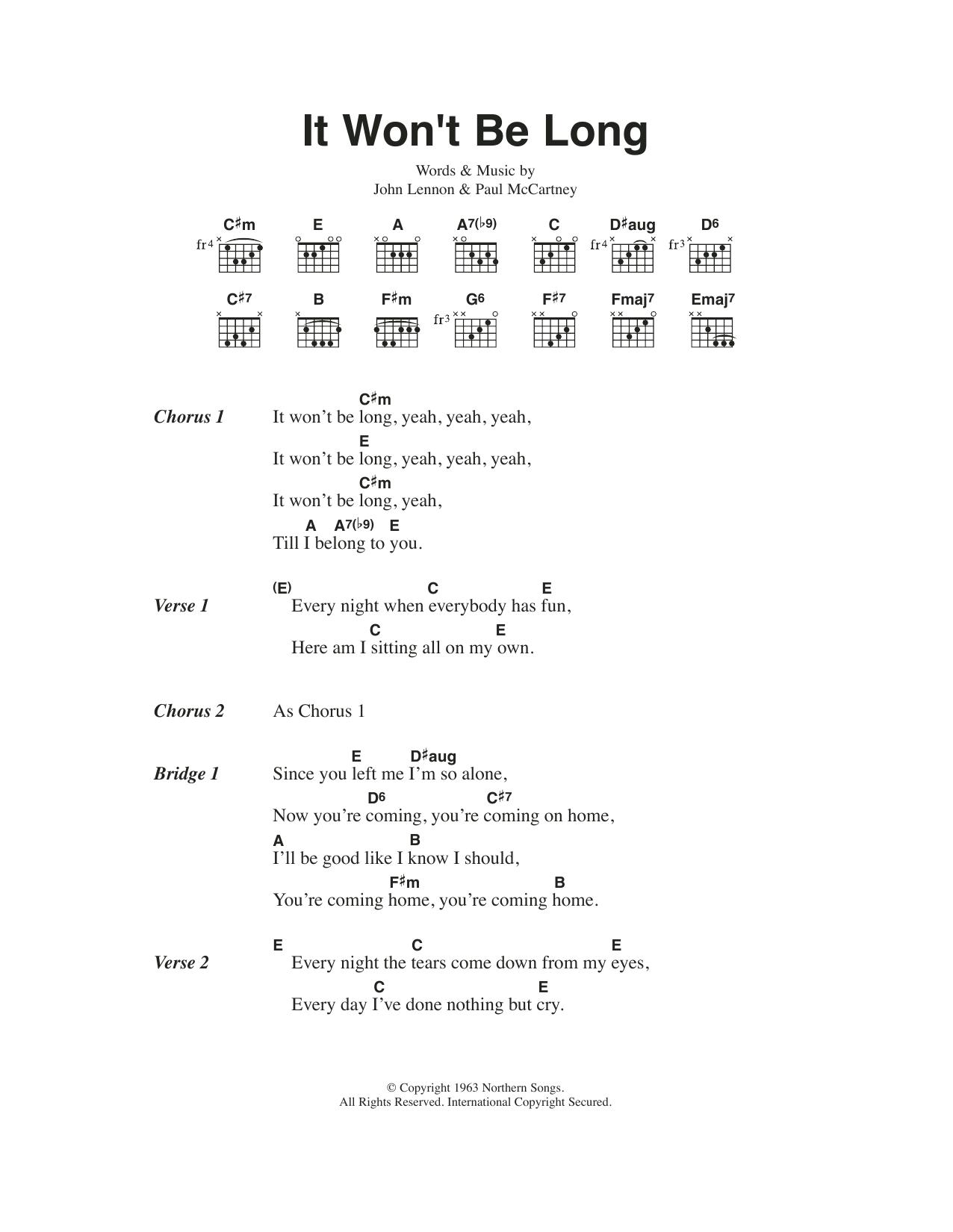 It Wont Be Long By The Beatles Guitar Chordslyrics Guitar