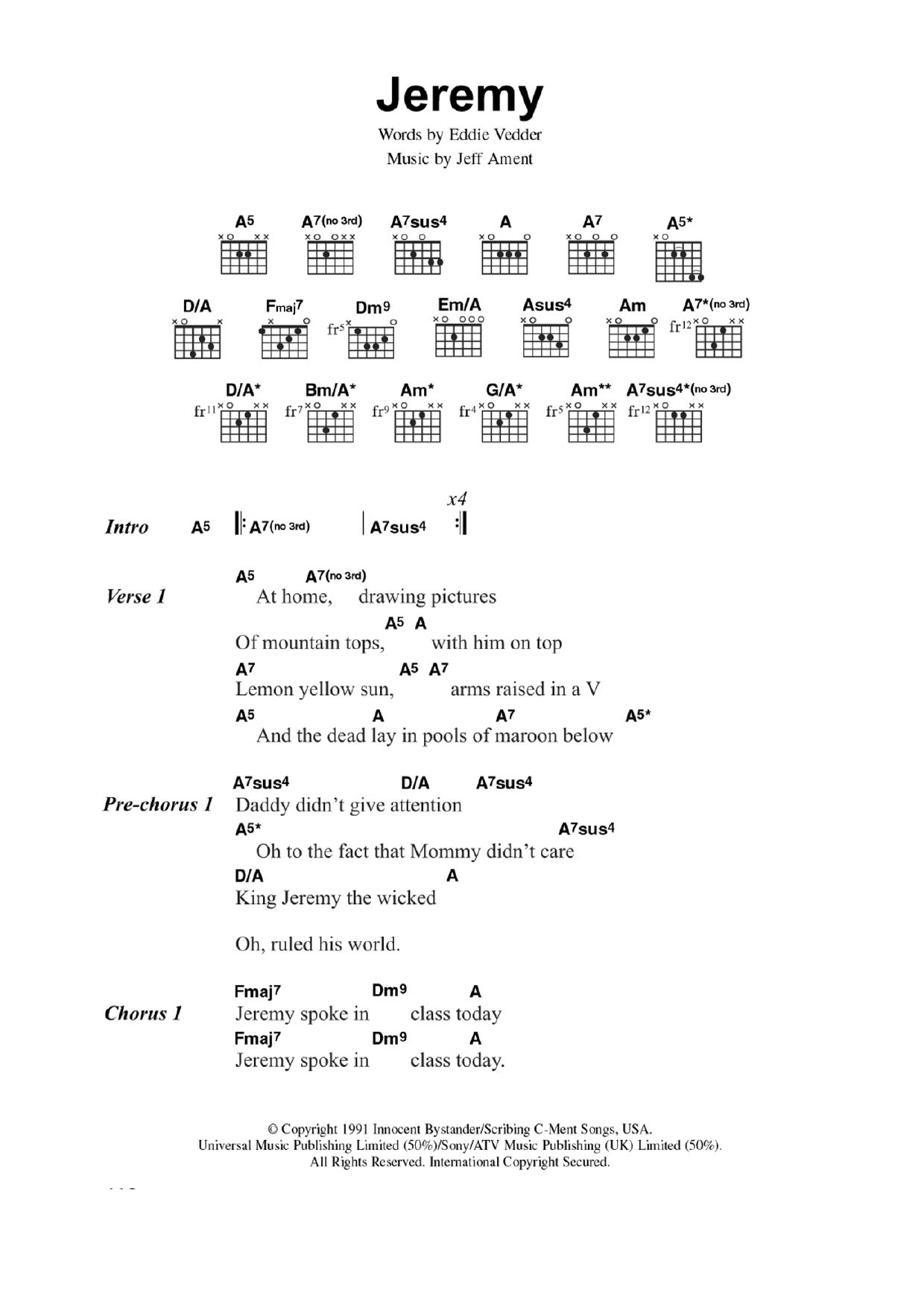 Jeremy Sheet Music